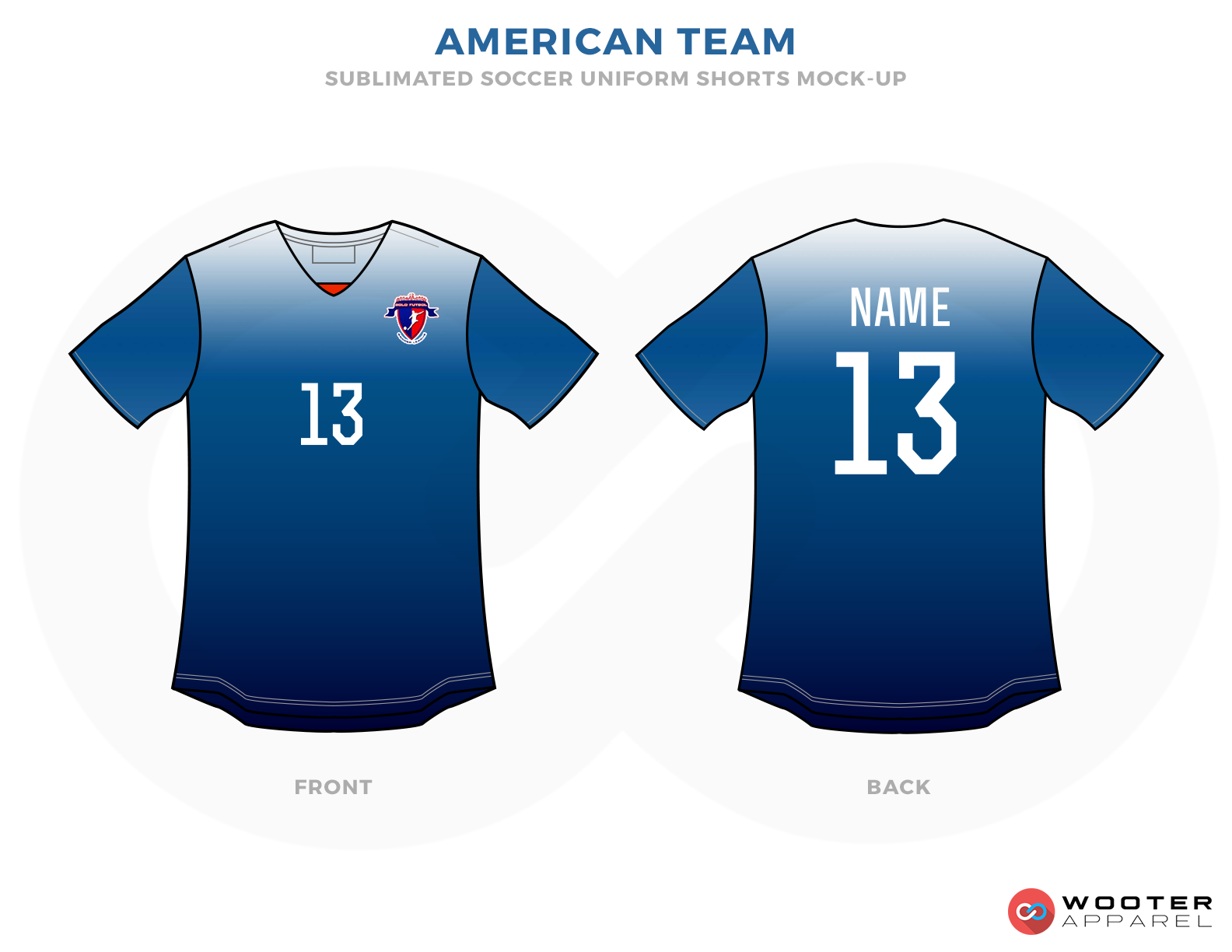 American Team Blue and White Soccer Uniform, Jersey and Shorts