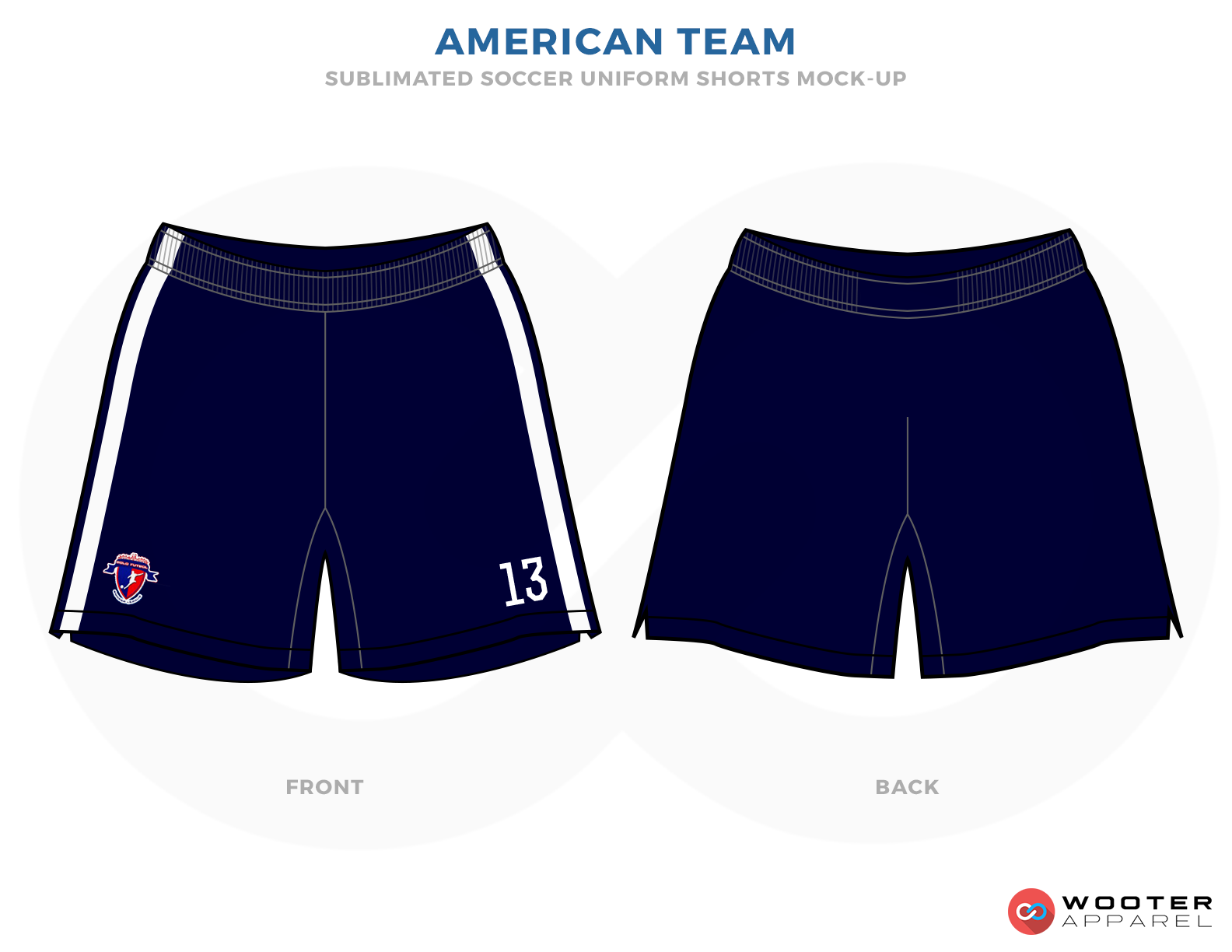 American Team Blue and White Soccer Shorts