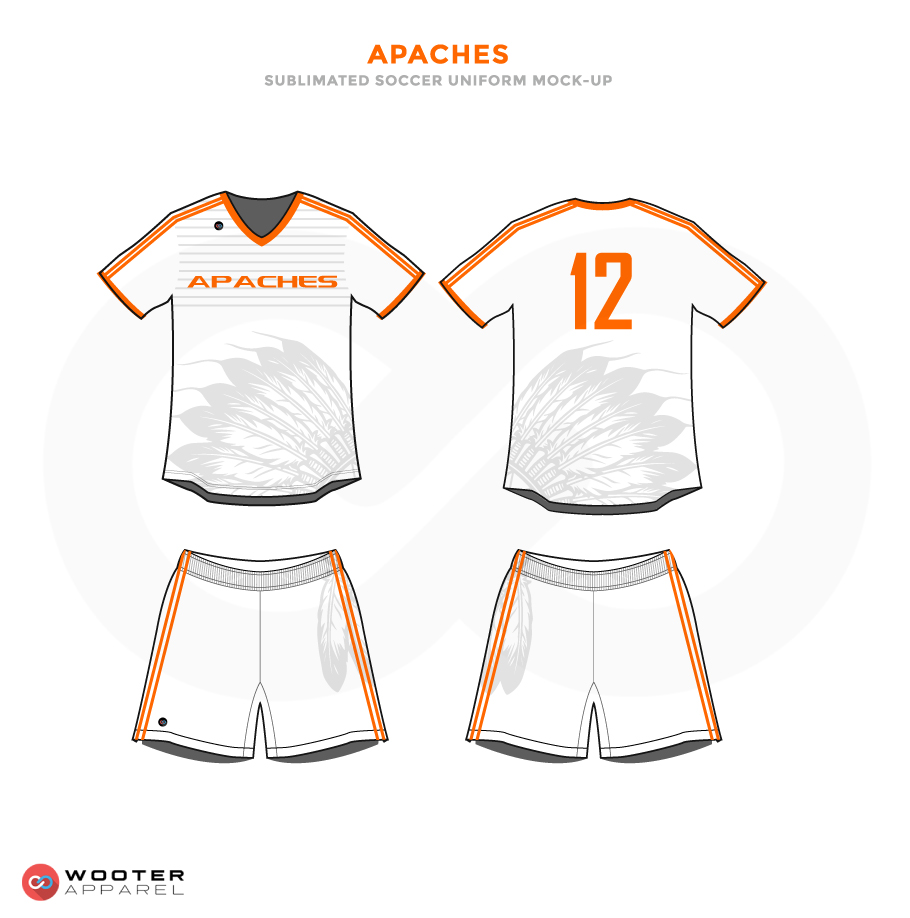 Apaches Orange and Grey Black Soccer Uniform, Jersey and Shorts