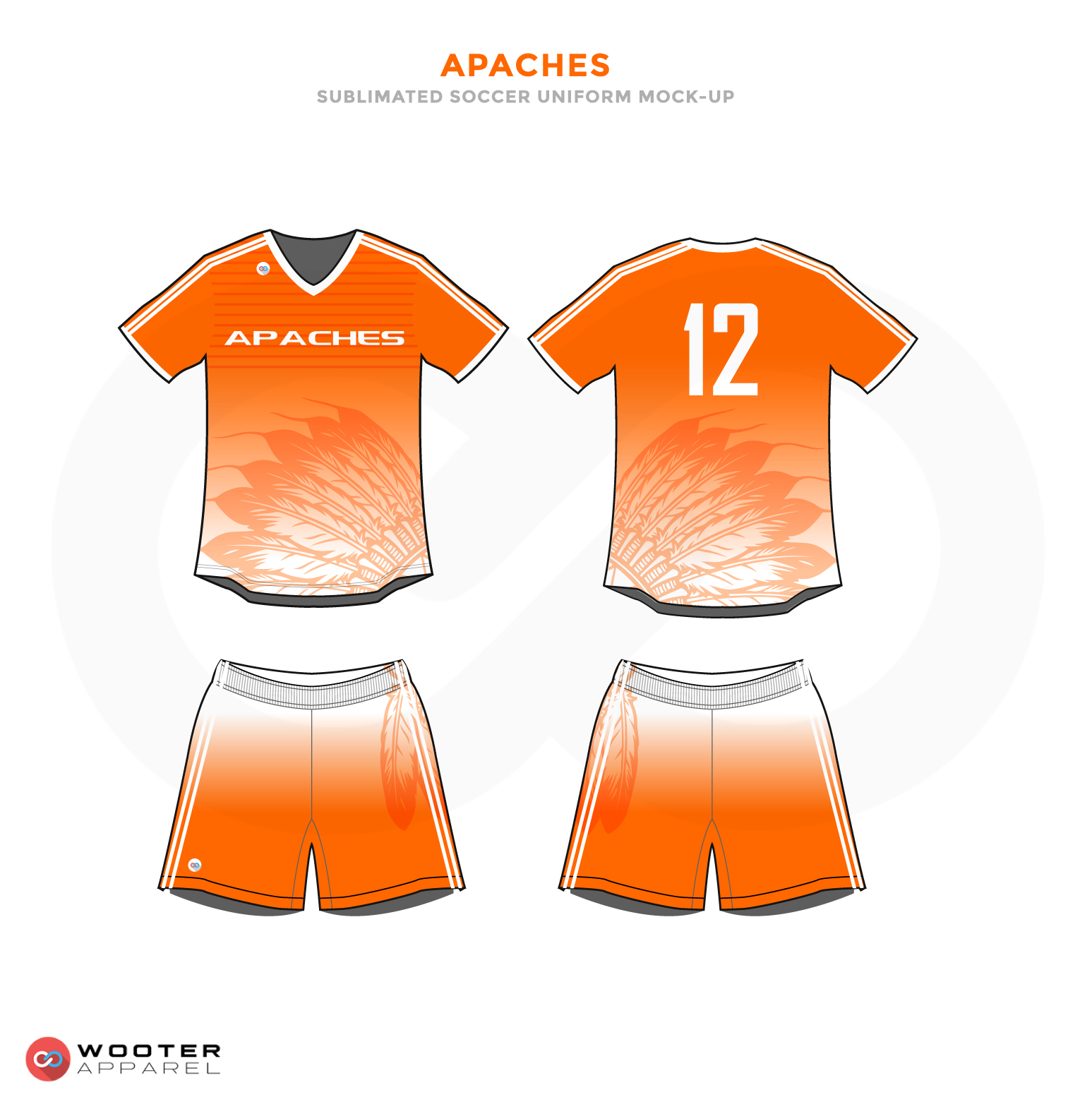Apaches Orange and White Soccer Uniform, Jersey and Shorts