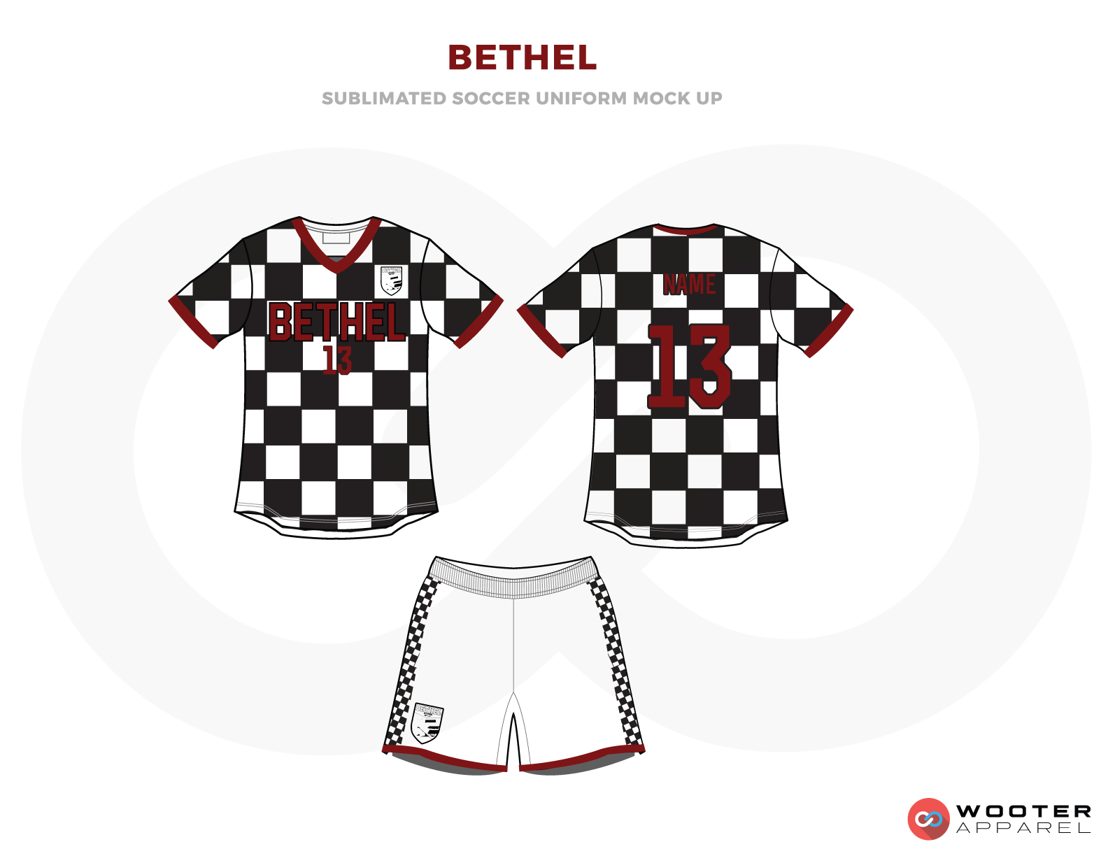 Bethel Black and White Checkered Soccer Uniform, Jerseys, and Shorts
