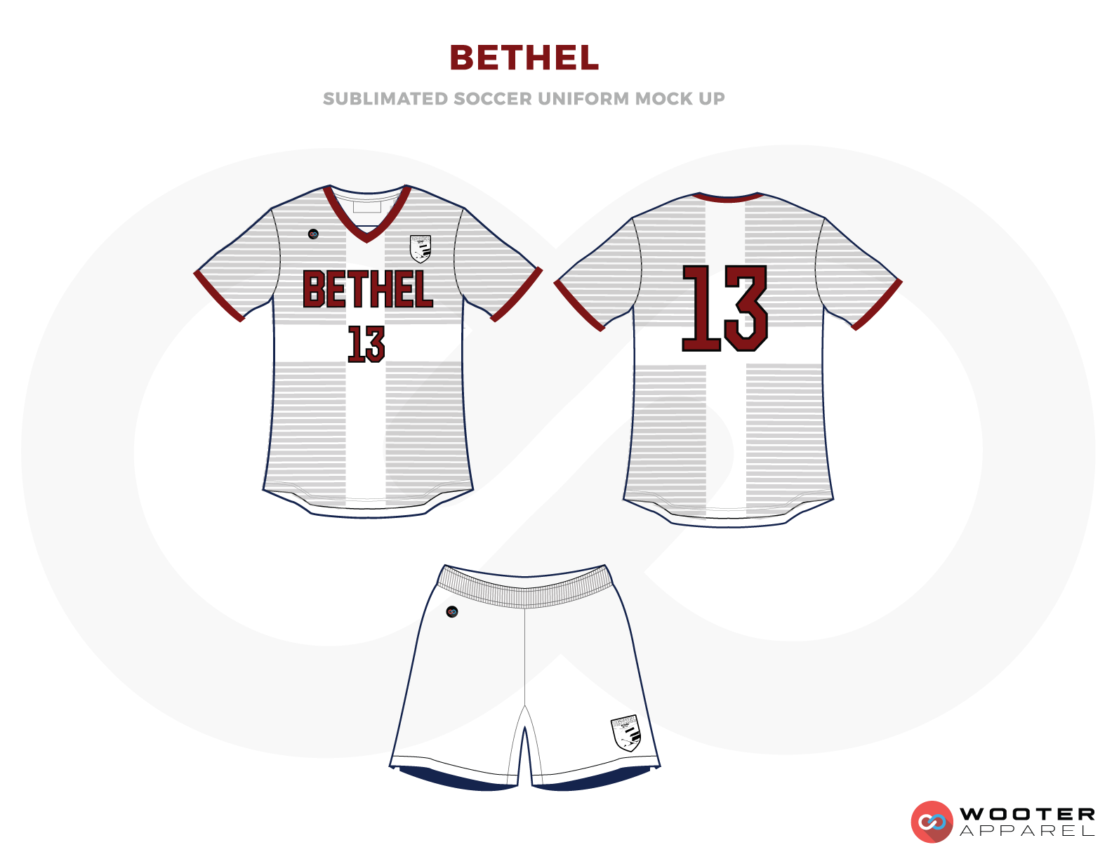 Bethel Grey and White Soccer Uniform, Jersey and Shorts