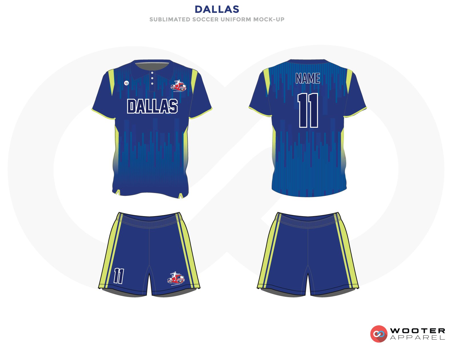Dallas Blue and Green Soccer Uniform, Jersey and Shorts
