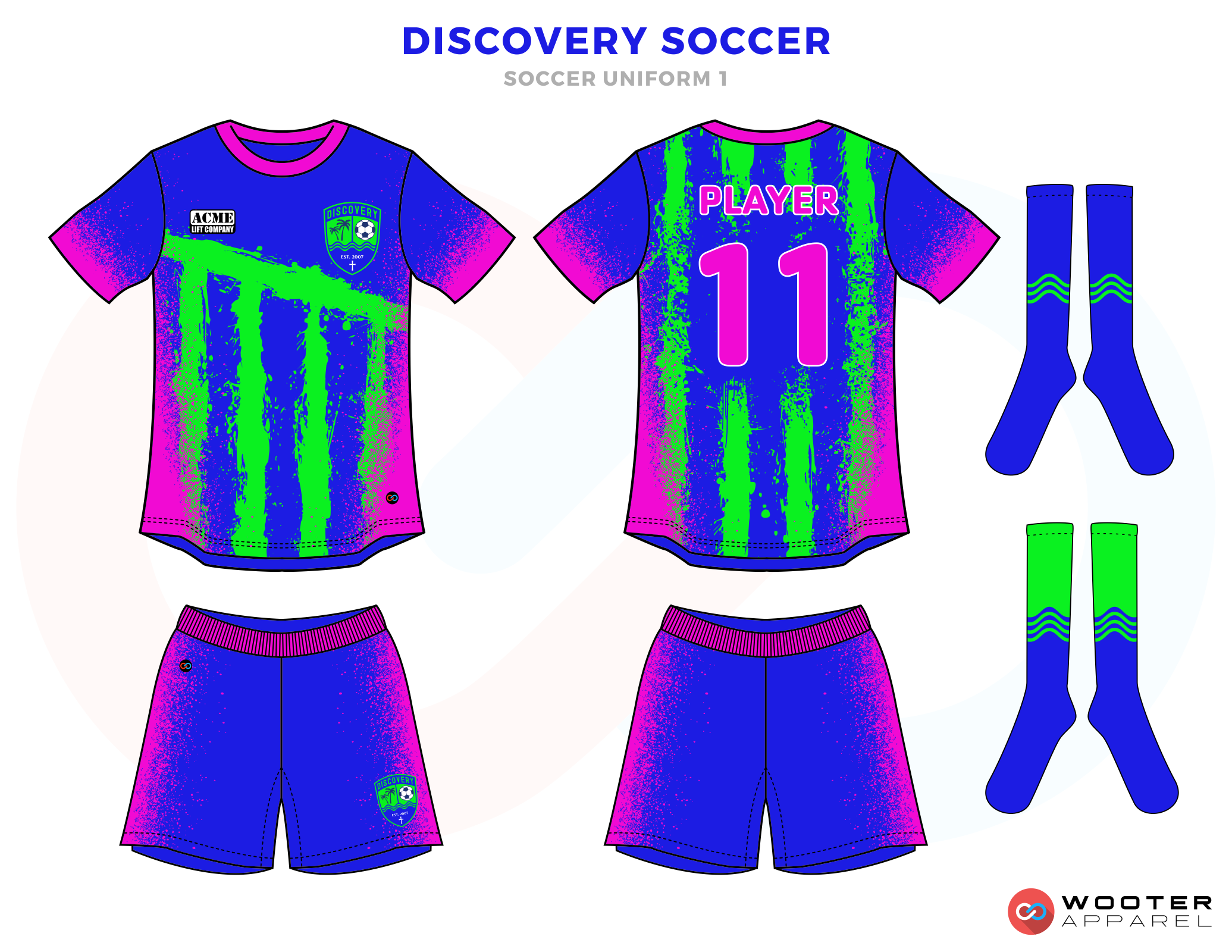 Discovery Soccer Purple Blue and Green Soccer Uniform, Jersey and Shorts