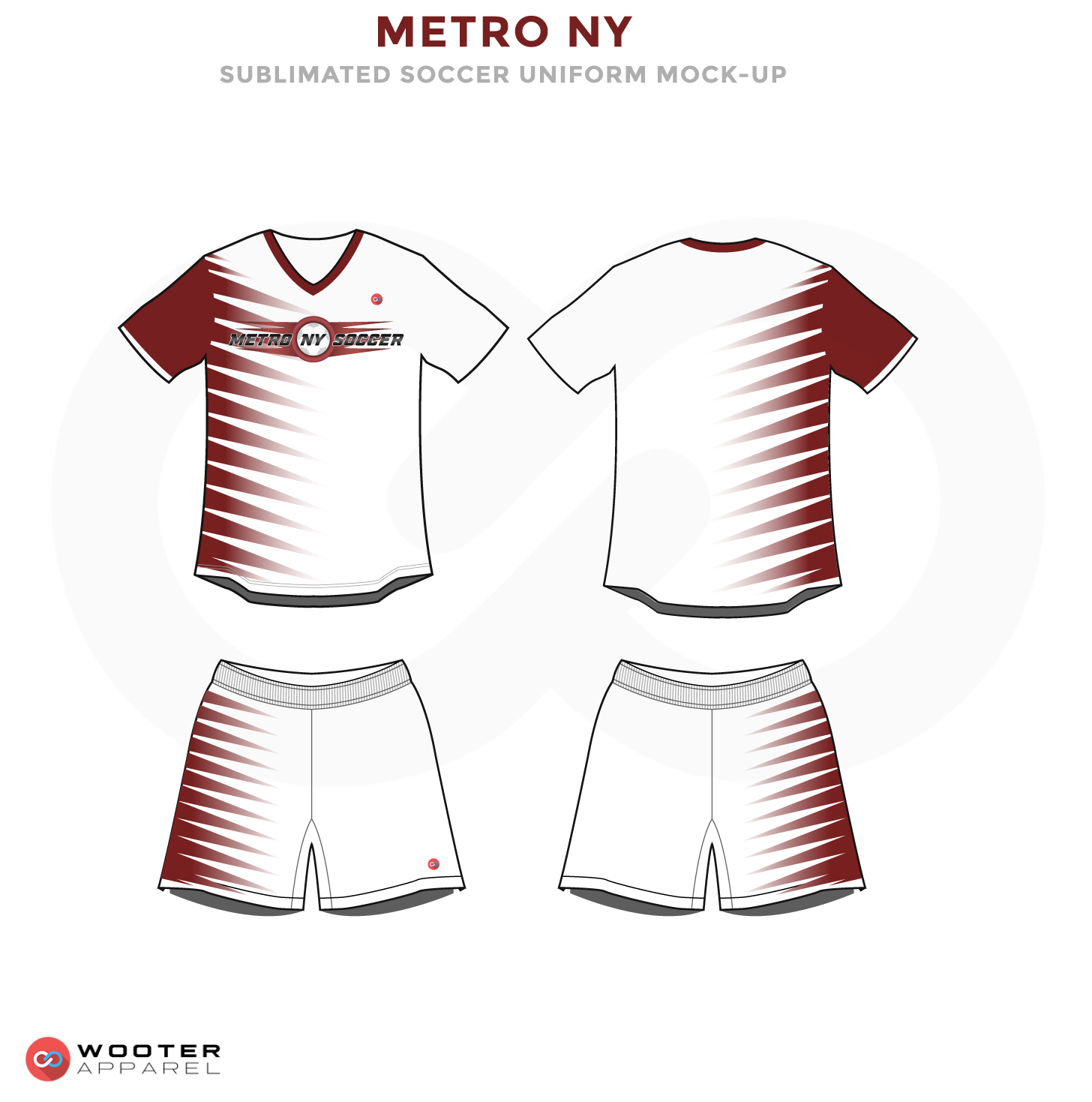 Metro NY Red Maroon and White Soccer Uniform, Jersey and Shorts