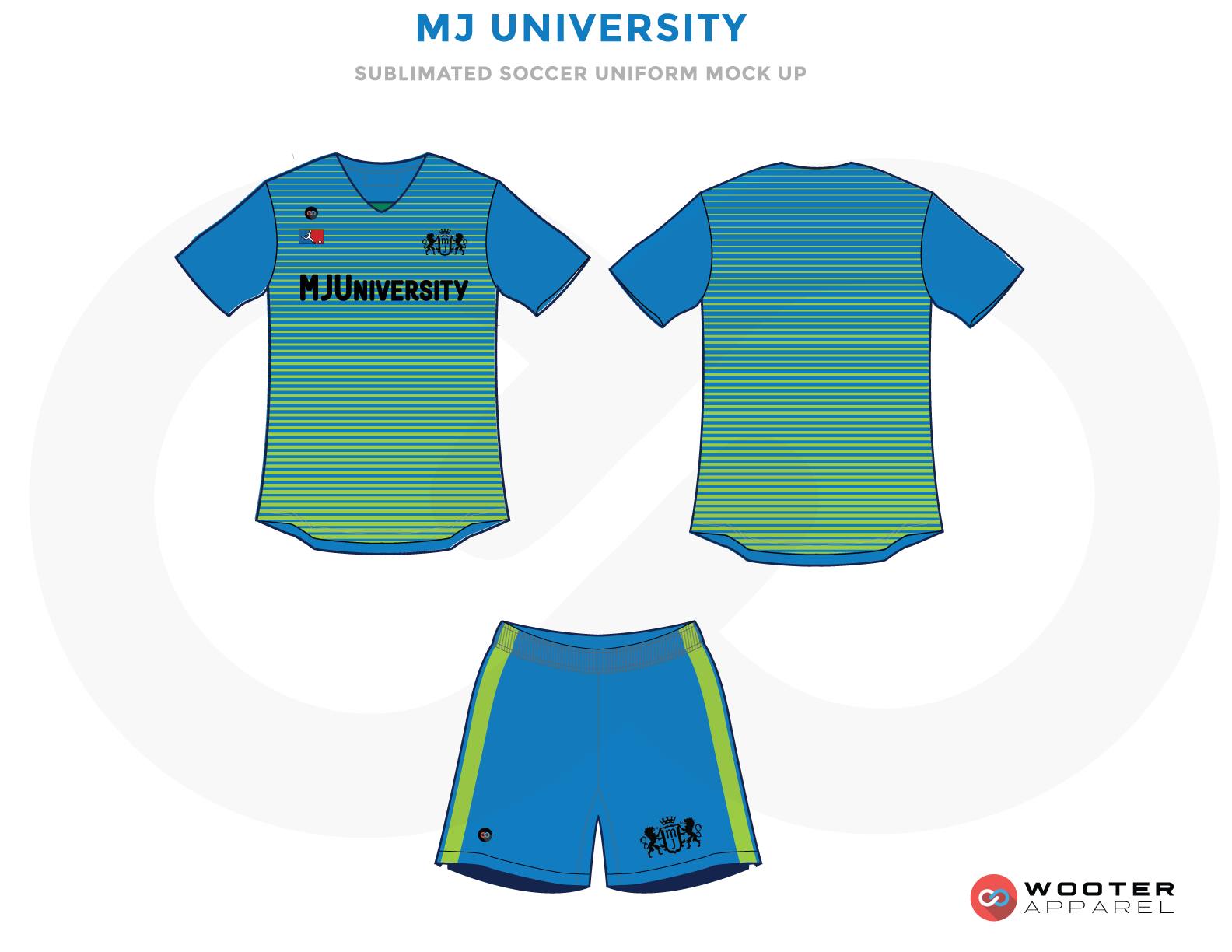MJ University Blue Green and Teal Soccer Uniform, Jersey and Shorts