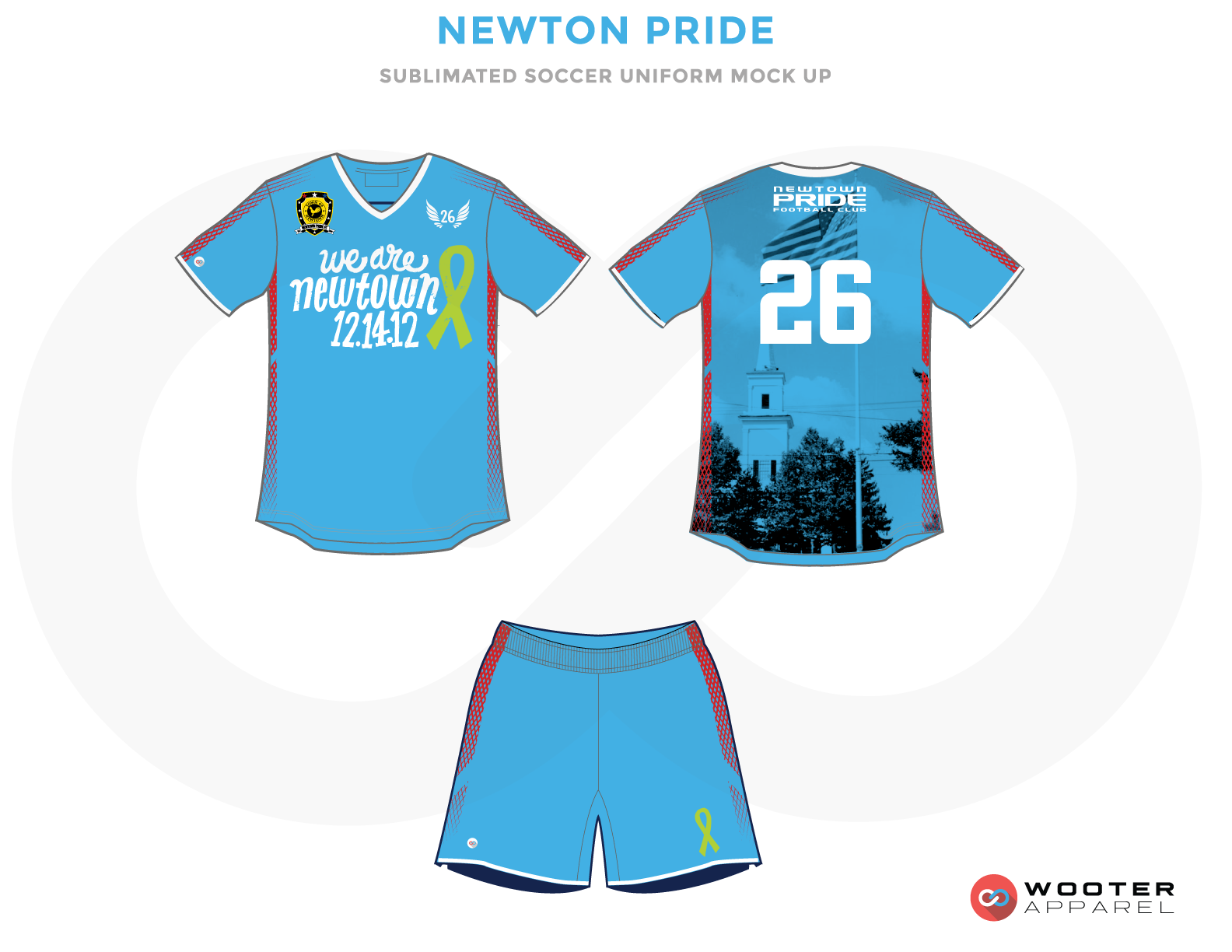 Newton Pride Blue and White Soccer Uniform, Jersey and Shorts