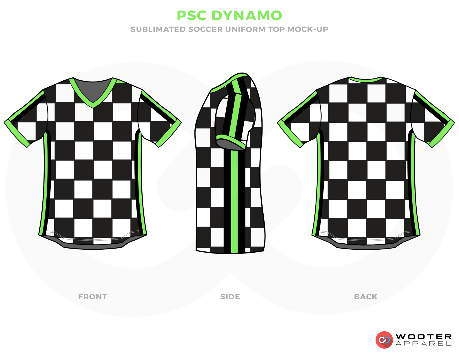 PSC Dynamo White Black and Green Checkered Soccer Uniform, Jersey and Shorts