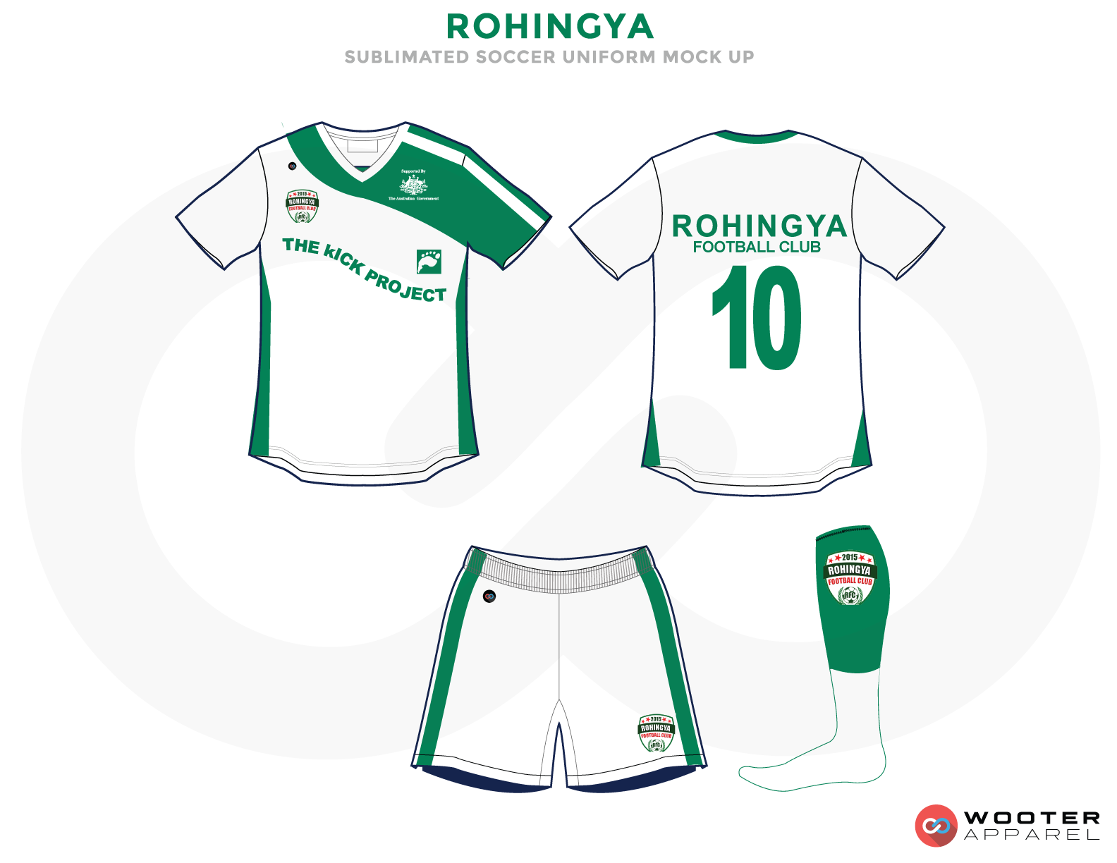 Rohingya Green and White Soccer Uniform, Jersey, Shorts, and Socks