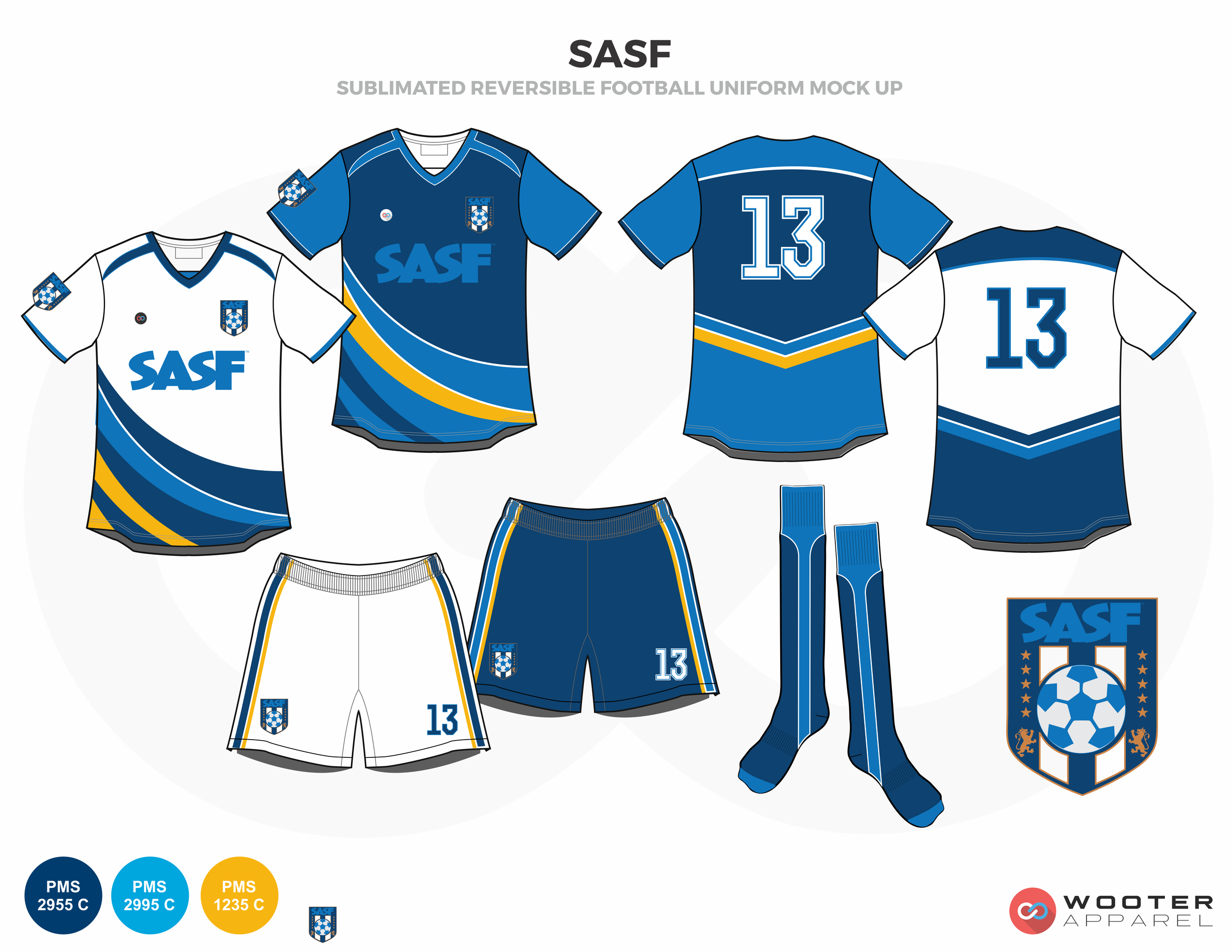 SASF Blue Yellow and White Soccer Uniform, Jersey, Shorts, and Socks