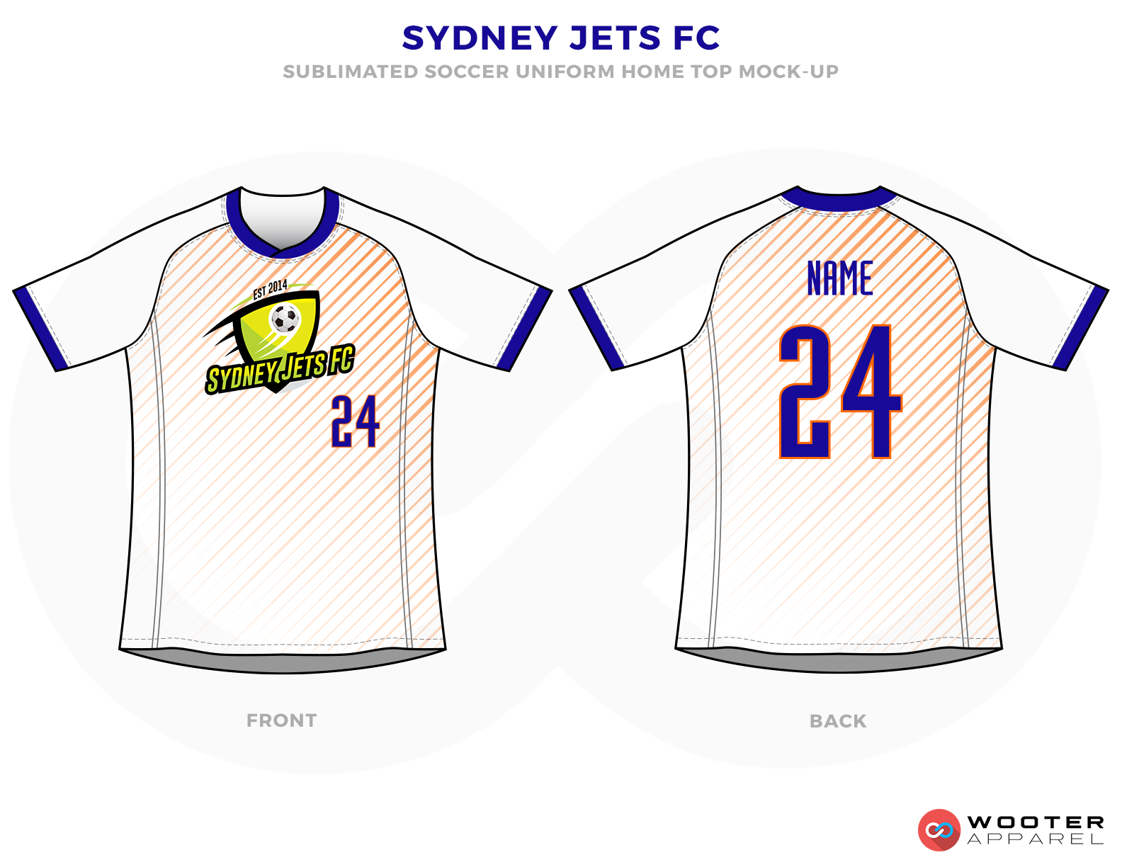 Sydney Jets FC Blue White and Orange Soccer Uniform, Jersey and Shorts