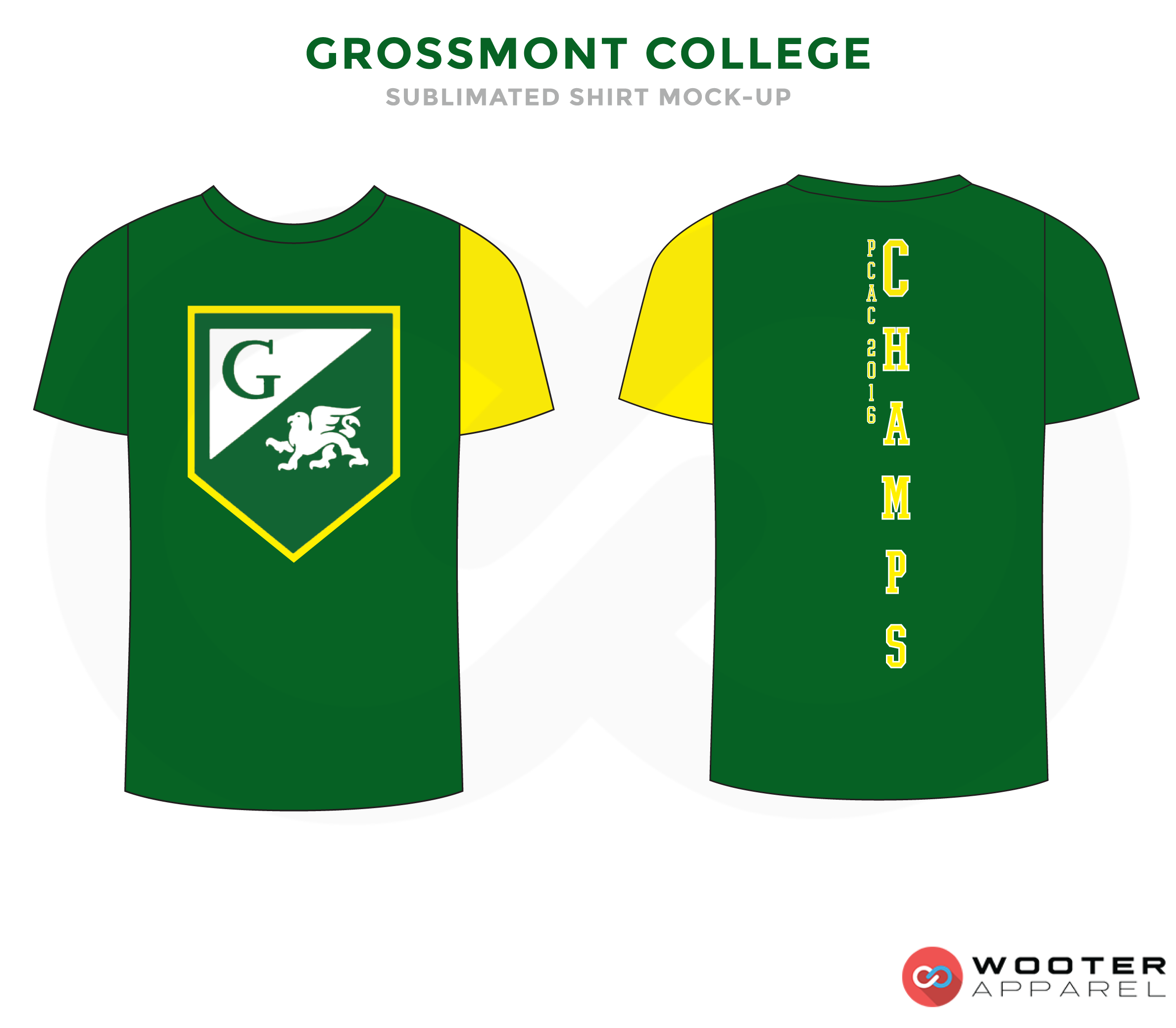 CROSSMONT COLLEGE Green Yellow and White Premium Shooting Shirt