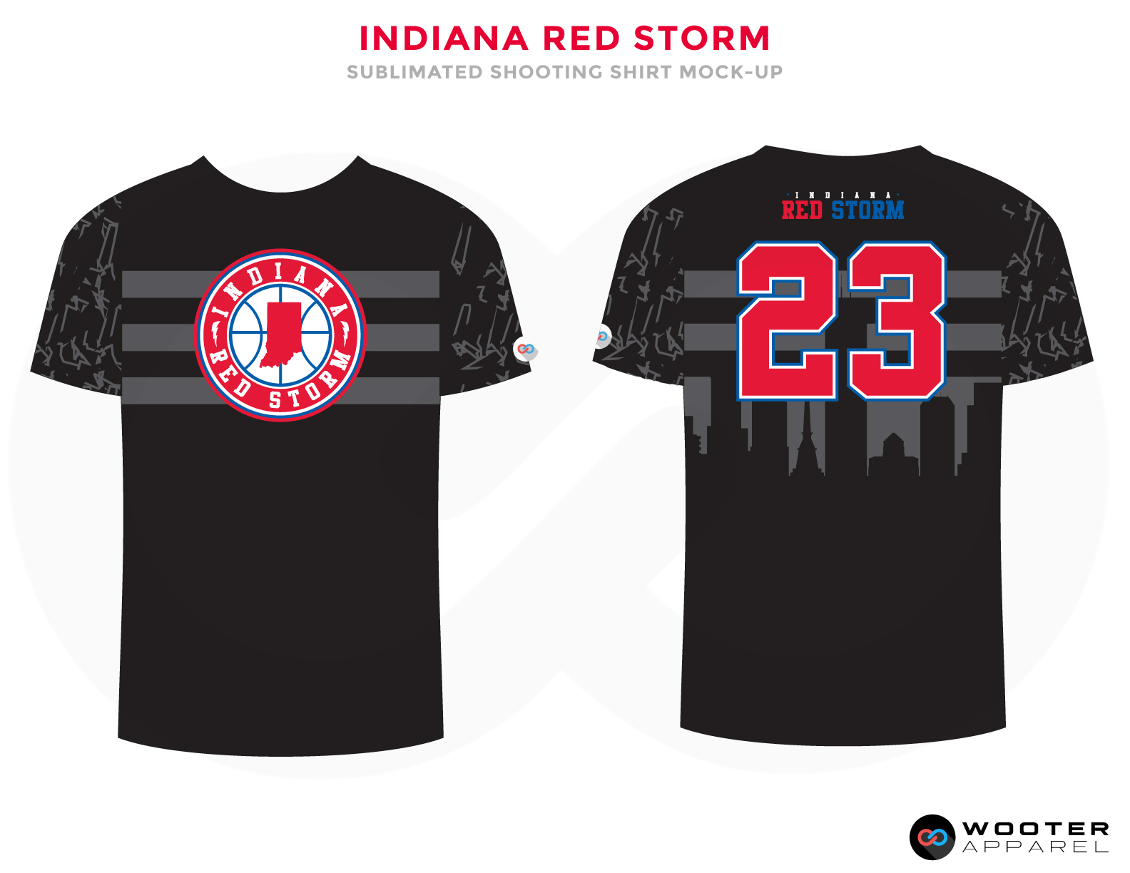INDIANA RED STORM Black Red Grey and Blue Premium Shooting Shirt