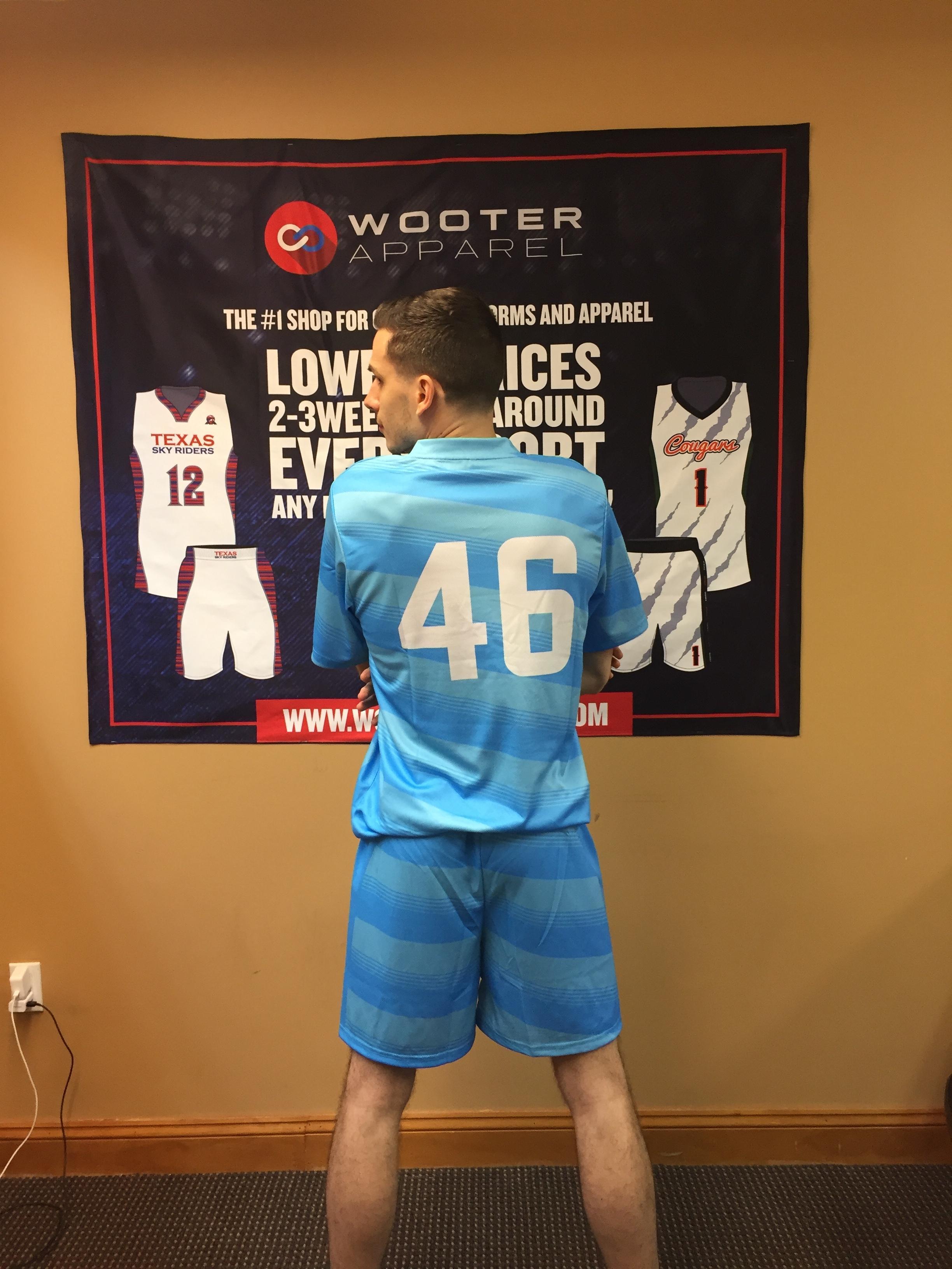 Sky Blue White soccer uniforms jerseys, shorts