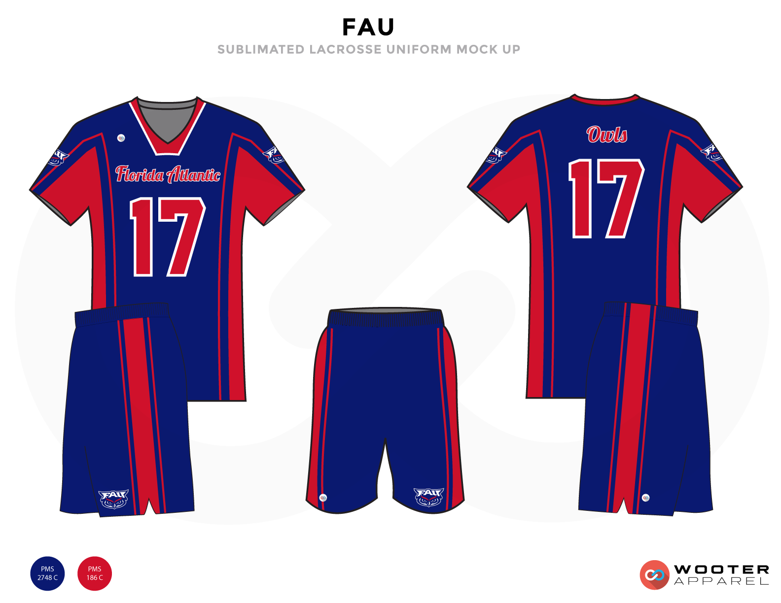 FAU Blue Red and White Lacrosse Uniforms, Reversible Pinnies, Jerseys, Shorts