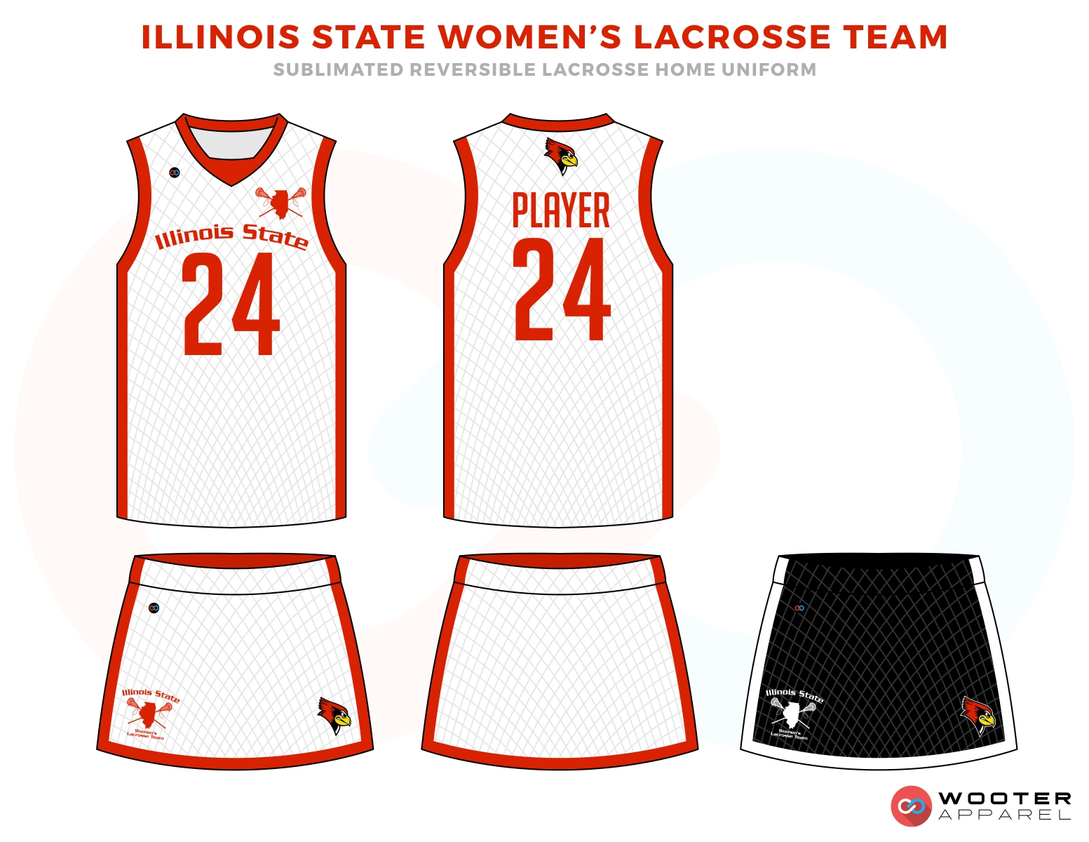 Illinois State Women's Lacrosse Team  Red and White Uniforms, Reversible Pinnies, Jerseys, skirts