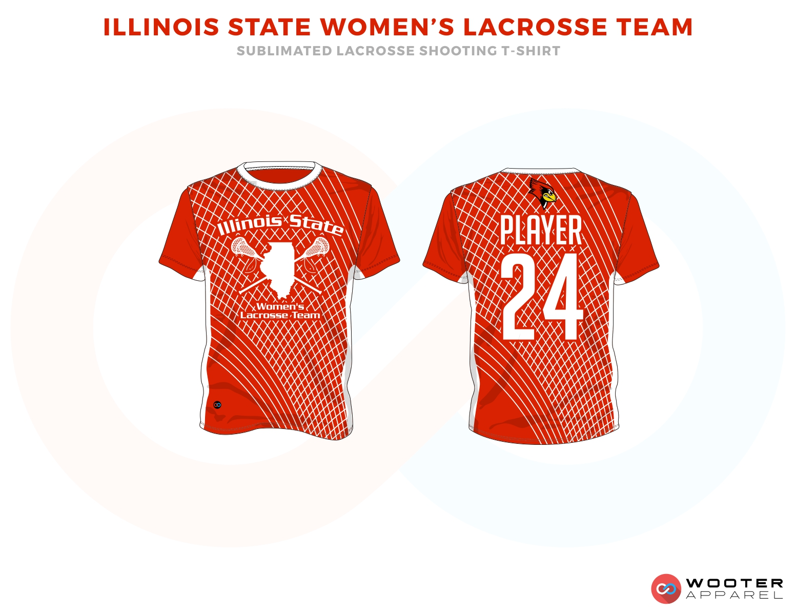 Illinois State Women's Lacrosse Team Red and White Lacrosse T Shirts, Uniforms, Reversible Pinnies, Jerseys