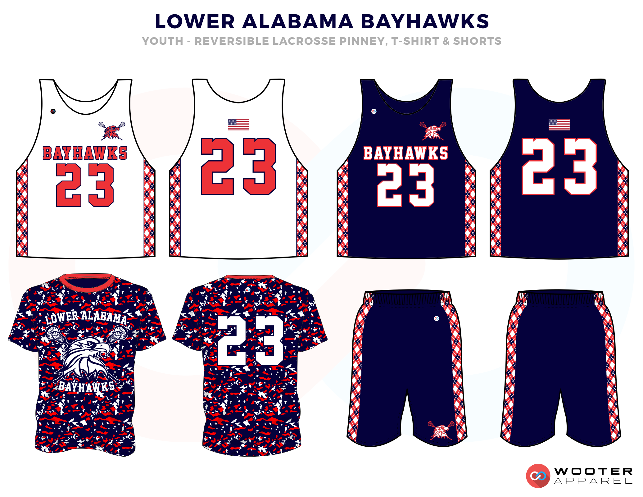 Lower Alabama Bayhawks Blue Red and White Lacrosse Uniforms, Reversible Pinnies, T Shirts, Jerseys, Shorts