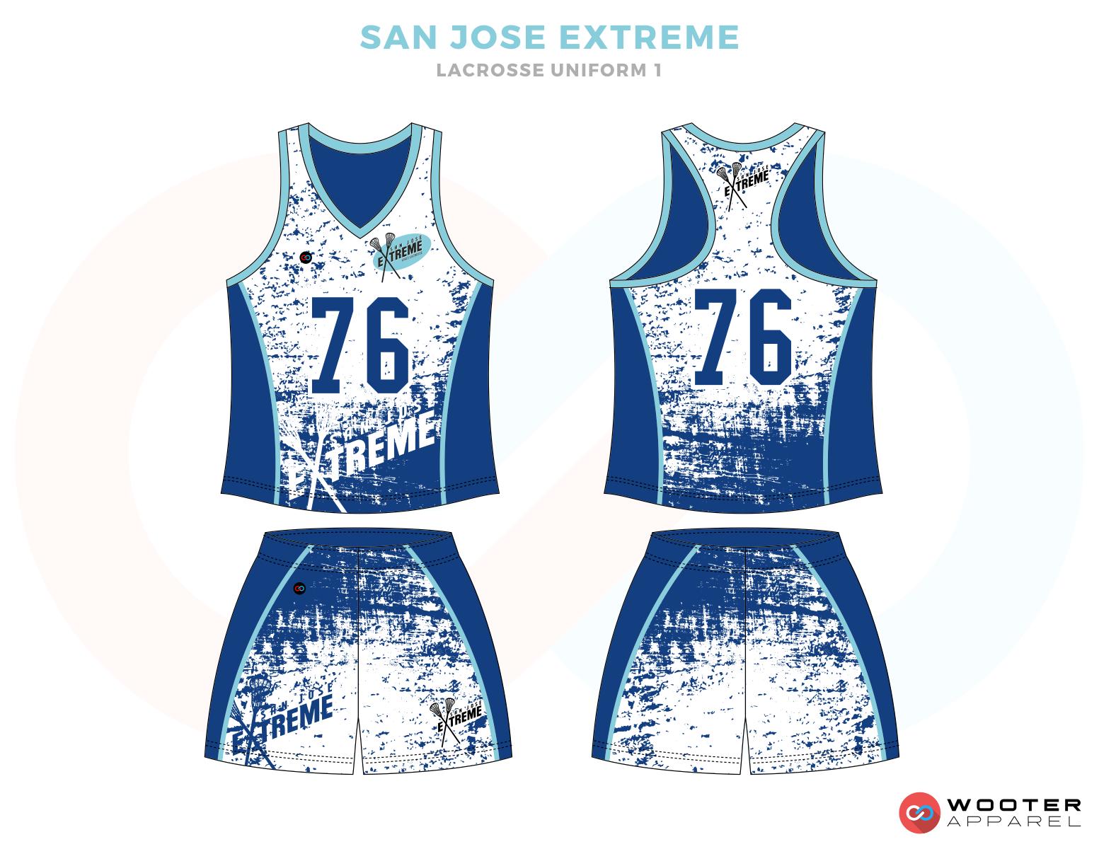 San Jose Blue and White Lacrosse Uniforms, Reversible Pinnies, Jerseys, Shorts