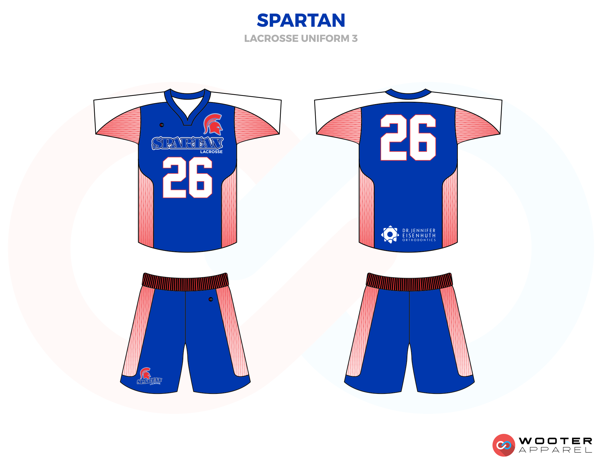 Spartan Blue Red and White Lacrosse Uniforms, Reversible Pinnies, Jerseys, Shorts