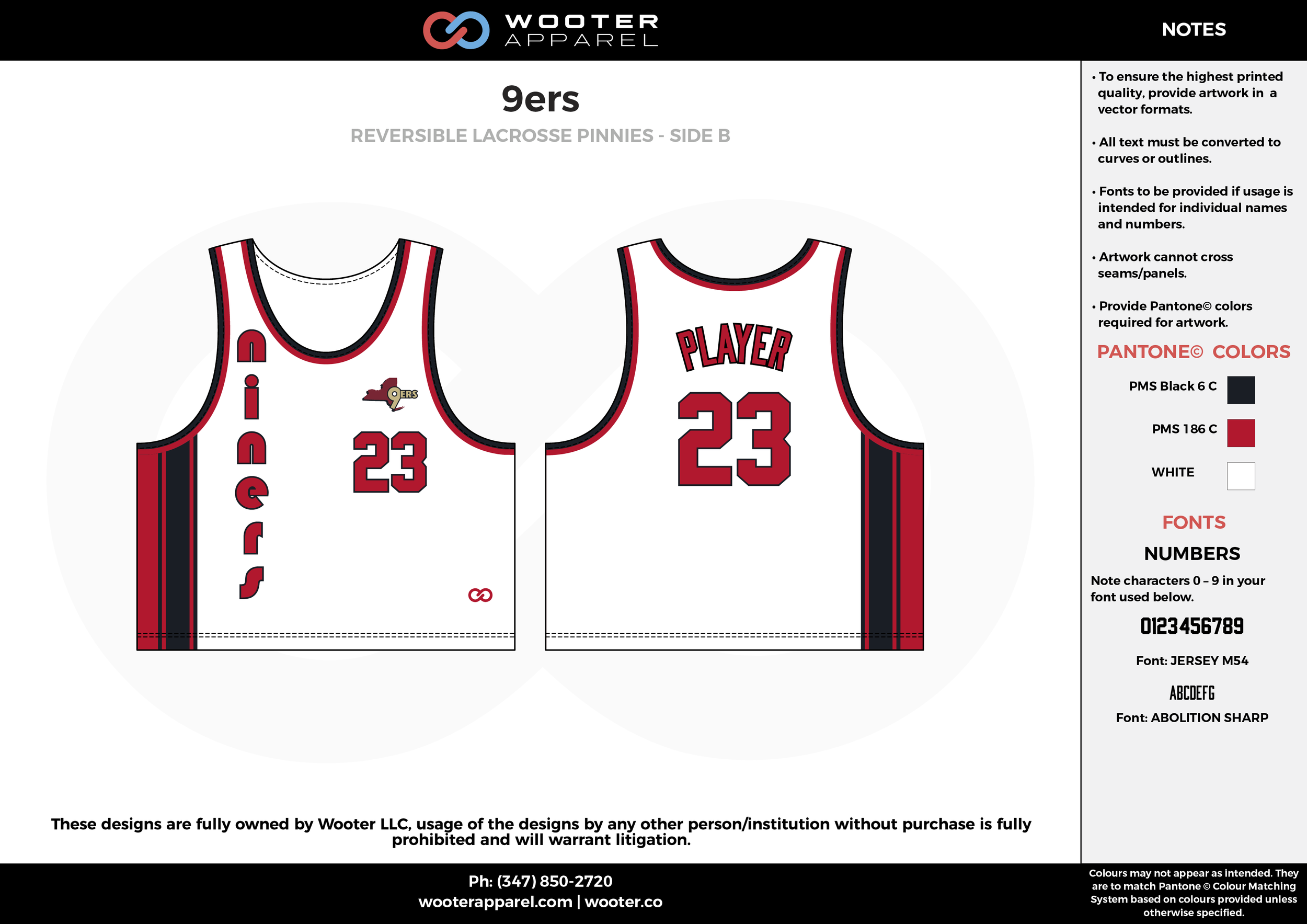 9ers Red Black and White Lacrosse Uniforms, Reversible Pinnies, Jerseys
