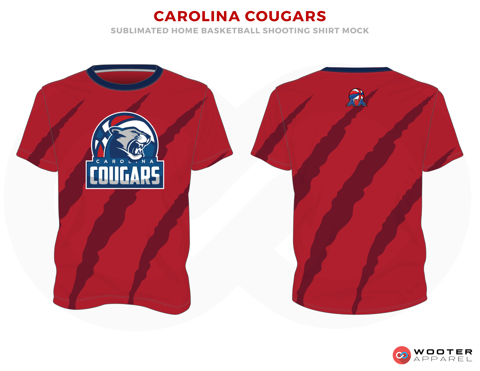 CAROLINA COUGARS Maroon Red Blue and White Premium Shooting Shirt