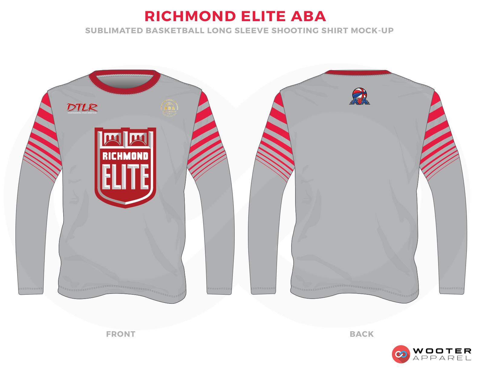 RICHMOND ELITE ABA Grey Red and White Premium Shooting Shirt