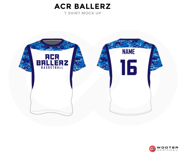 ACR BALLERZ Blue and White RICHMOND ELITE ABA Grey Red and White Premium Shooting Shirt