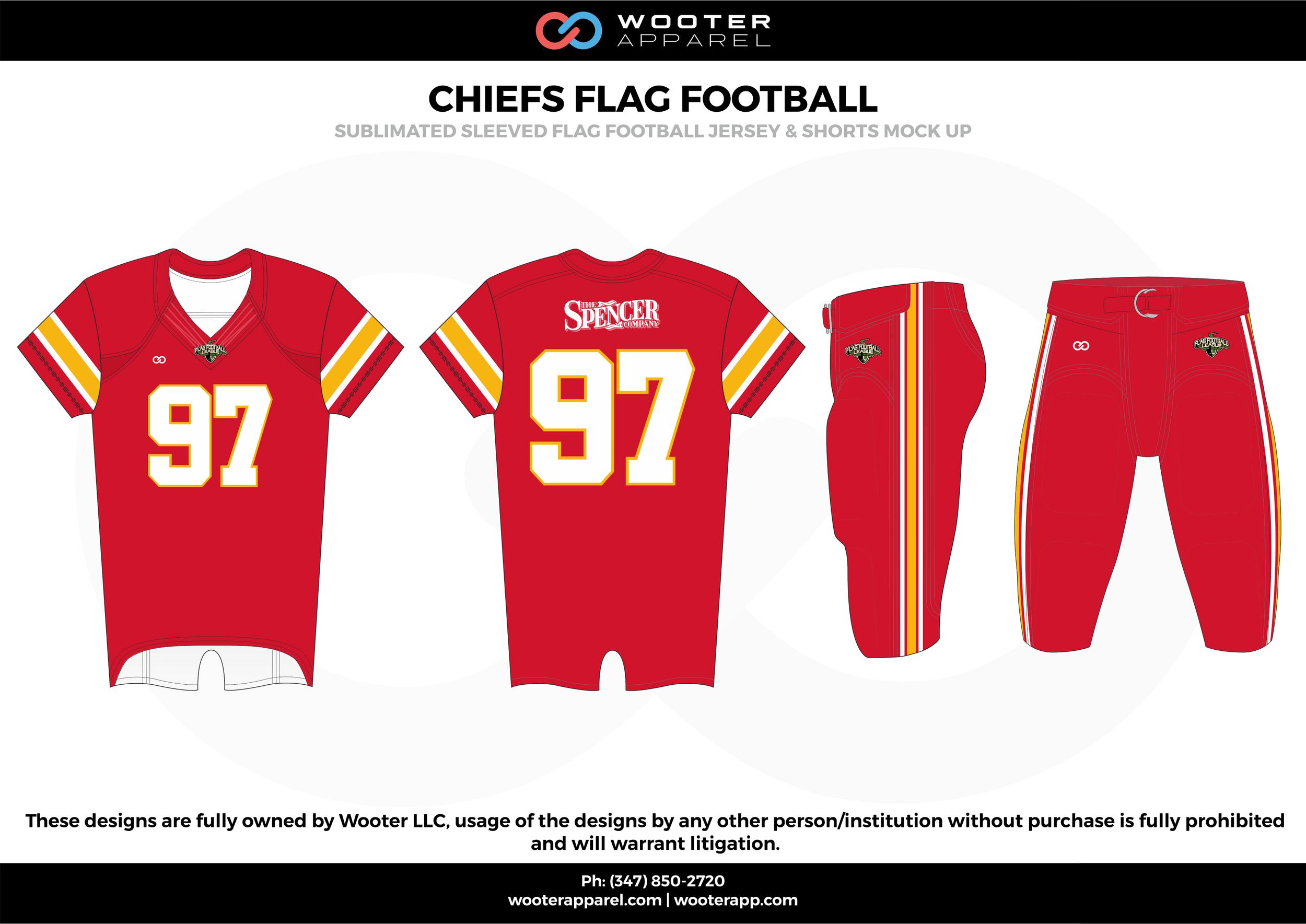 CHIEFS FLAG FOOTBALL red white yellow flag football uniforms jerseys pants