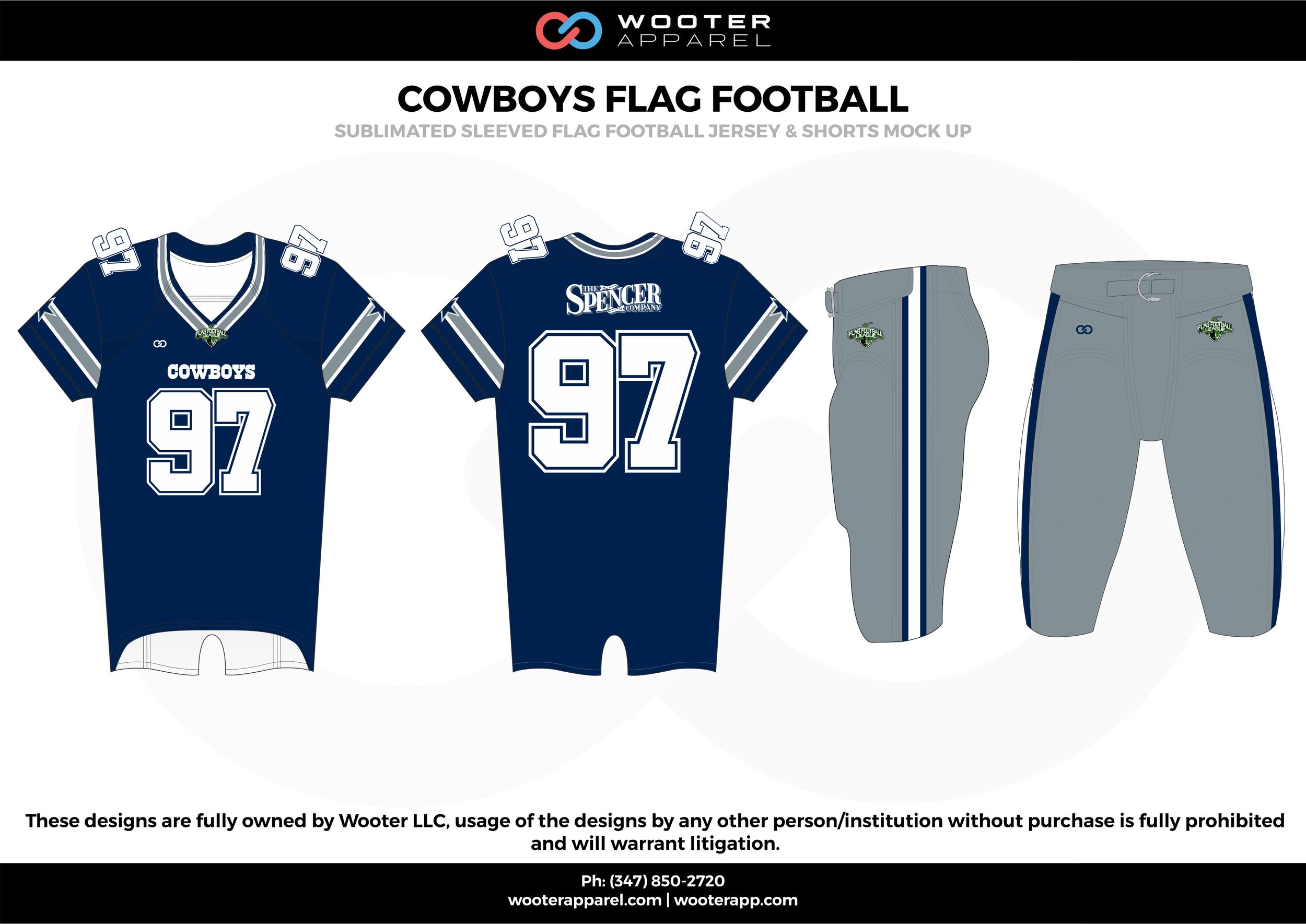 COWBOYS FLAG FOOTBALL blue gray white flag football uniforms jerseys pants