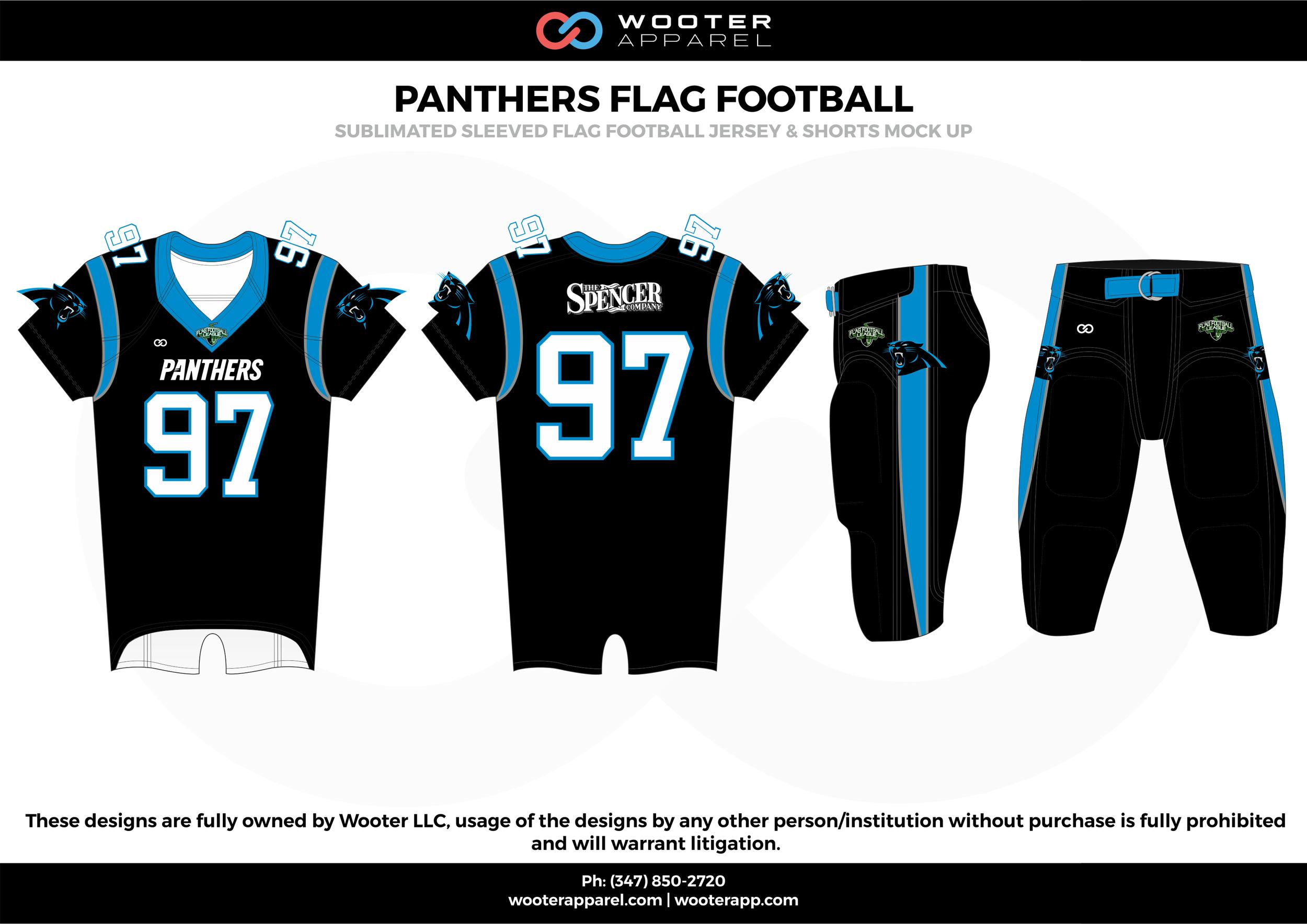 PANTHERS FLAG FOOTBALL black blue white flag football uniforms jerseys pants