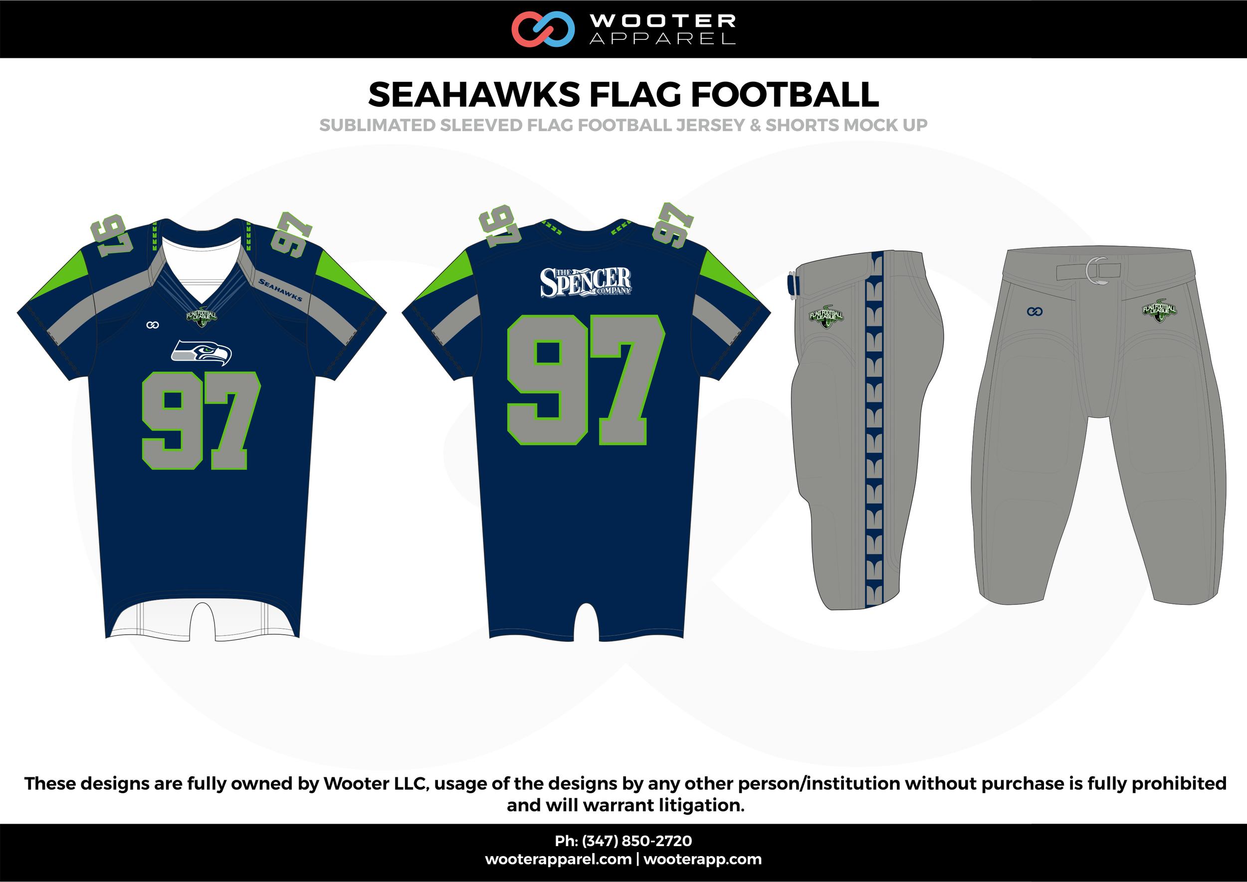 SEAHAWKS FLAG FOOTBALL blue gray green flag football uniforms jerseys pants