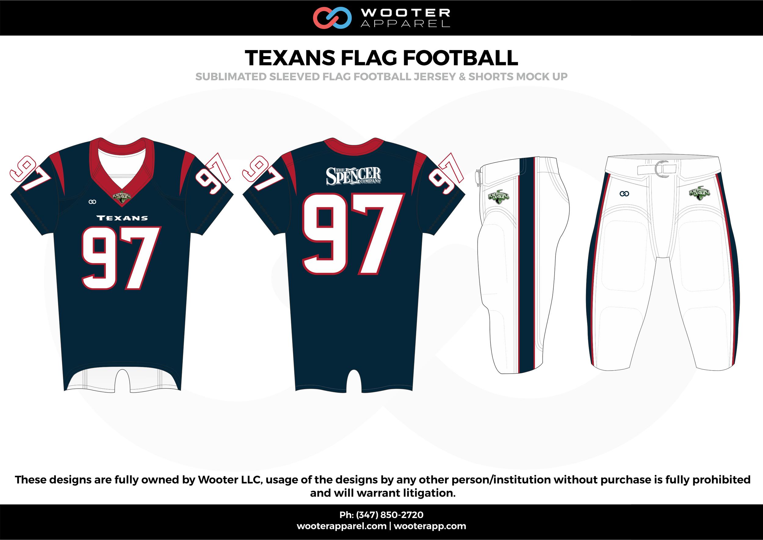 TEXANS FLAG FOOTBALL blue white red flag football uniforms jerseys pants