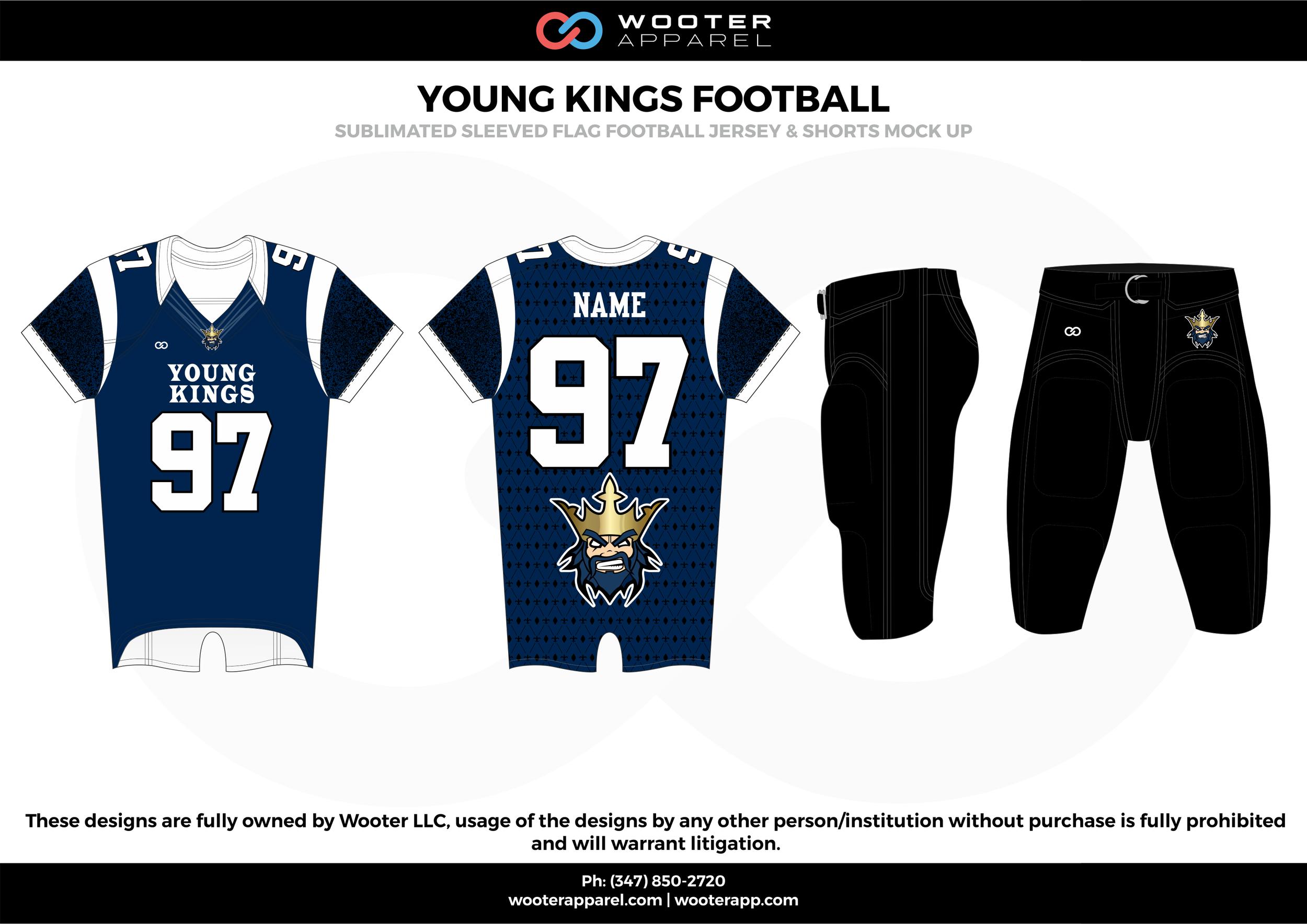 YOUNG KINGS FOOTBALL blue black white flag football uniforms jerseys pants