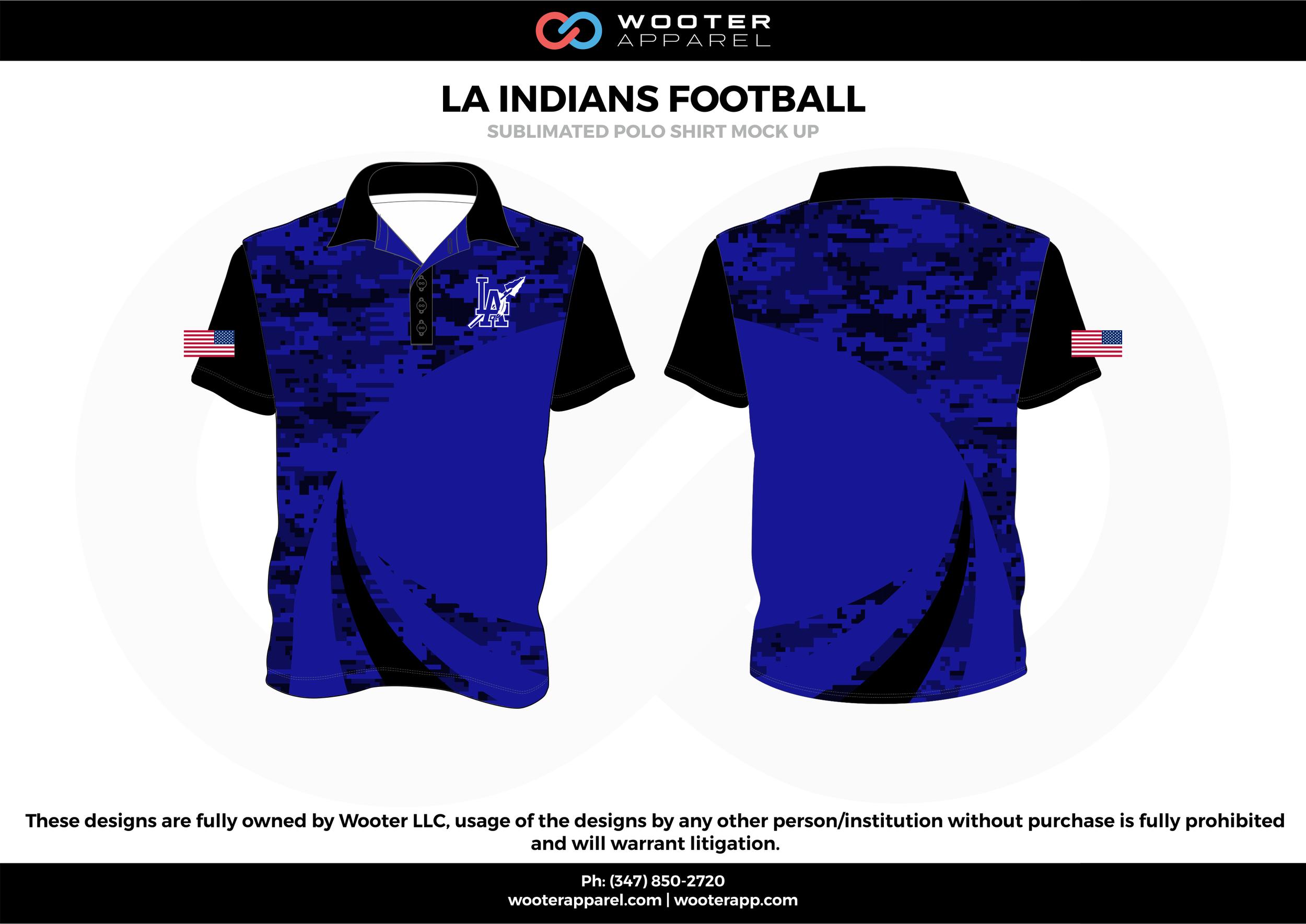 LA INDIANS FOOTBALL blue black white Polo Shirts