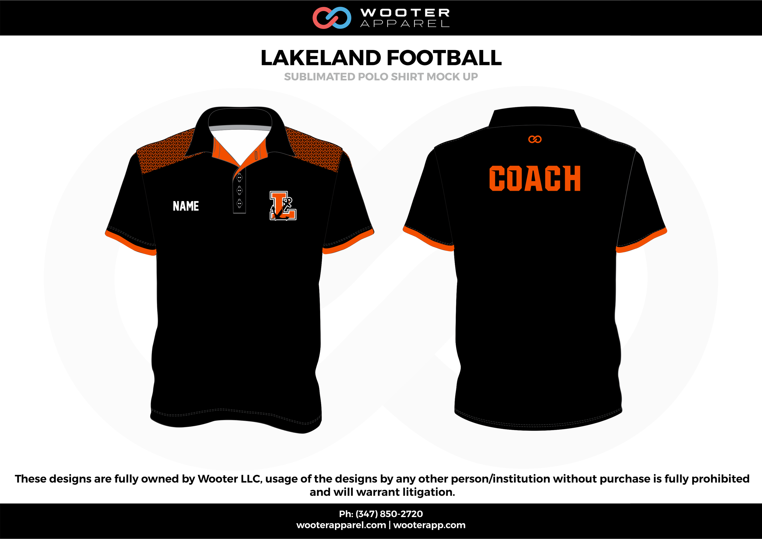 LAKELAND FOOTBALL black orange white Polo Shirts