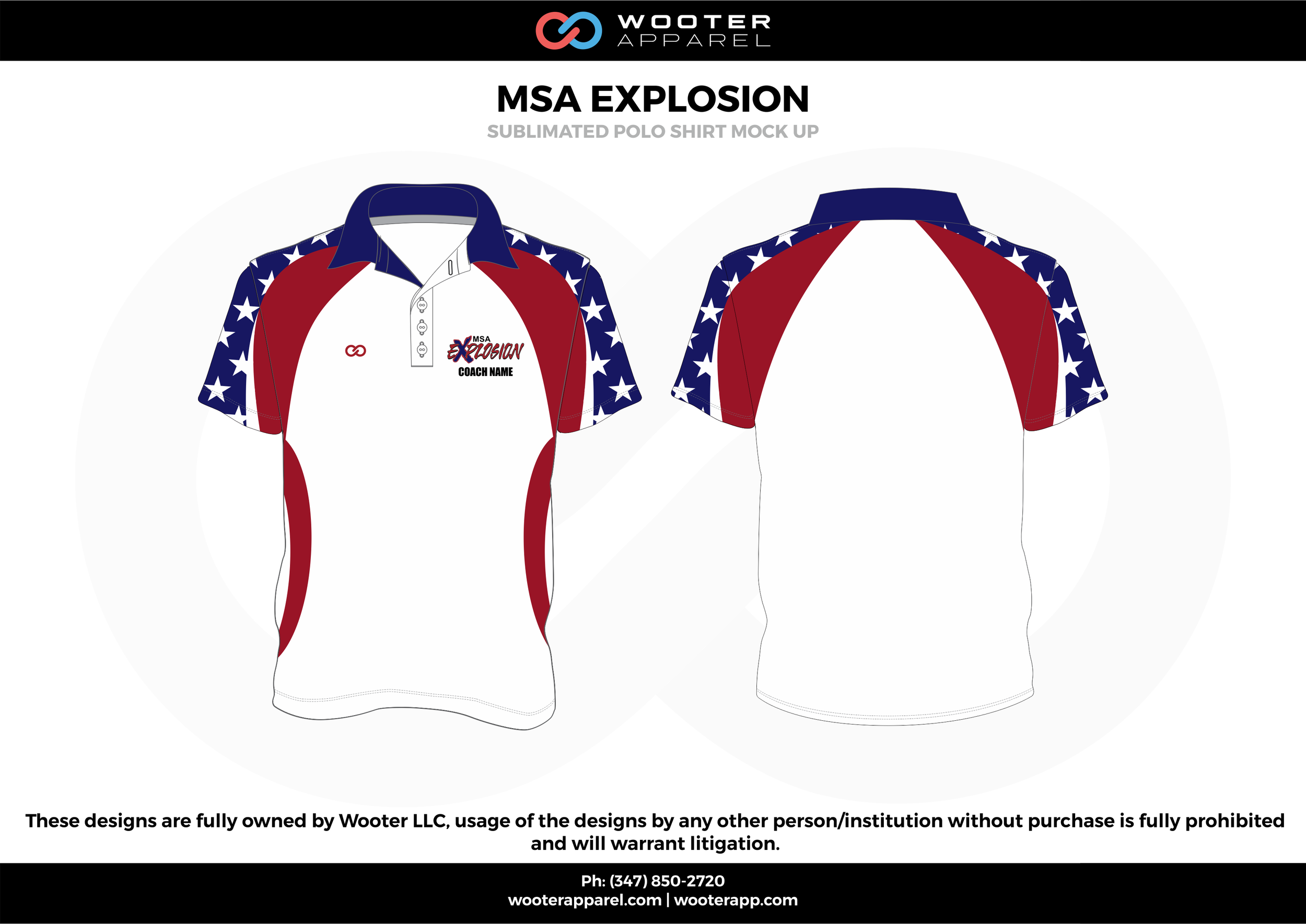 MSA EXPLOSION  white red blue Polo Shirts