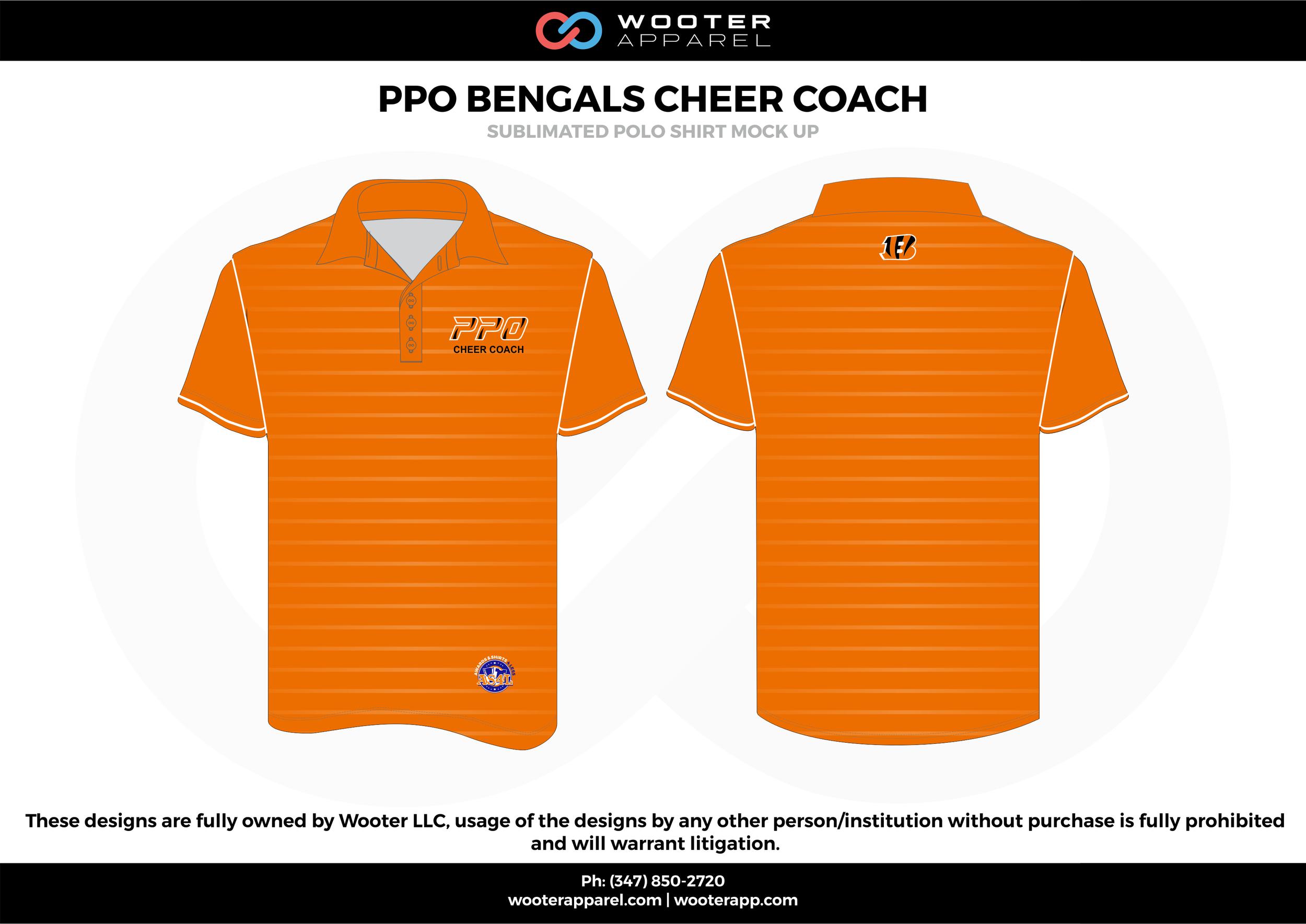 PPO BENGALS CHEER COACH orange white black blue Polo Shirts