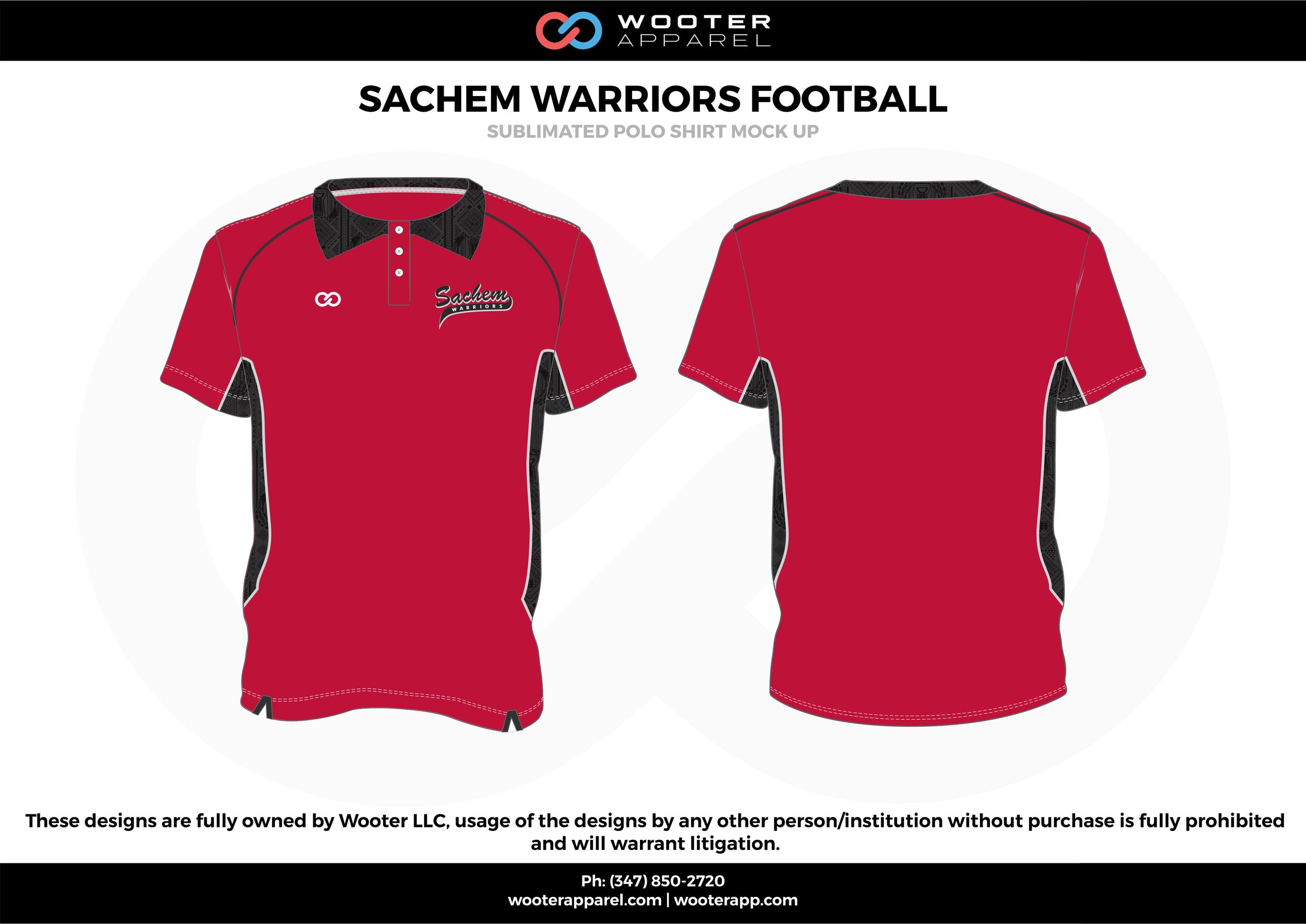 SACHEM WARRIORS FOOTBALL red black gray Polo Shirts
