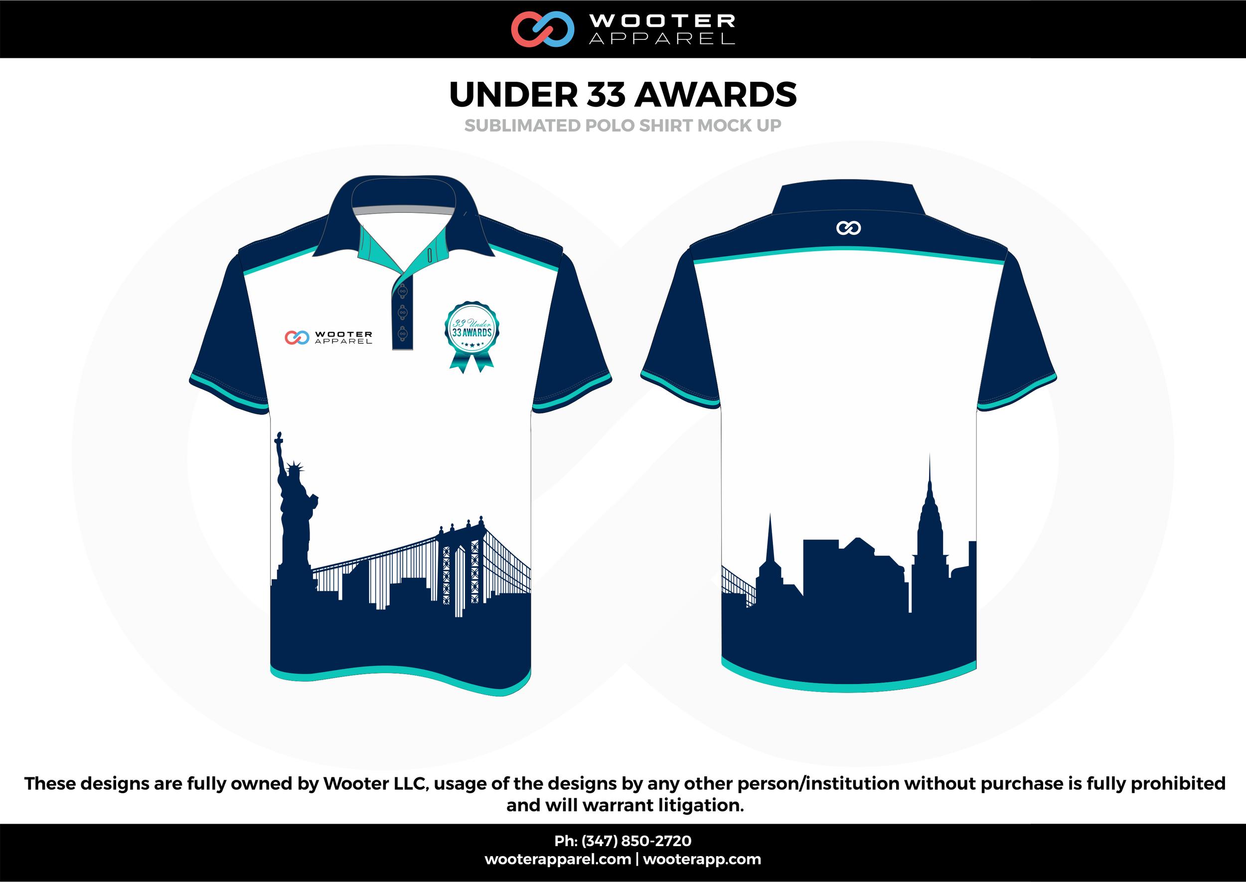 UNDER 33 AWARDS white sky blue dark blue gray Polo Shirts