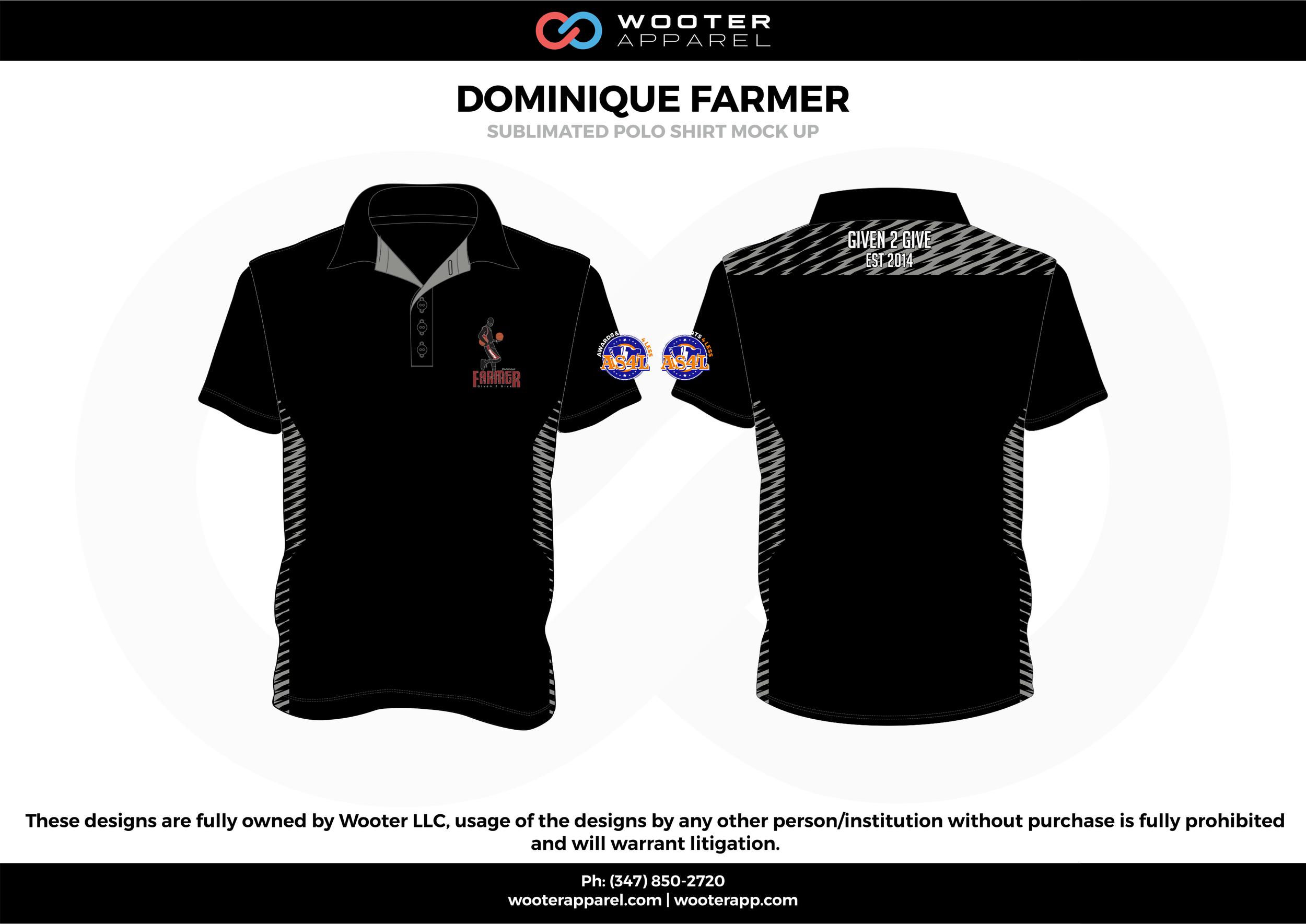 DOMINIQUE FARMER black gray Polo Shirts