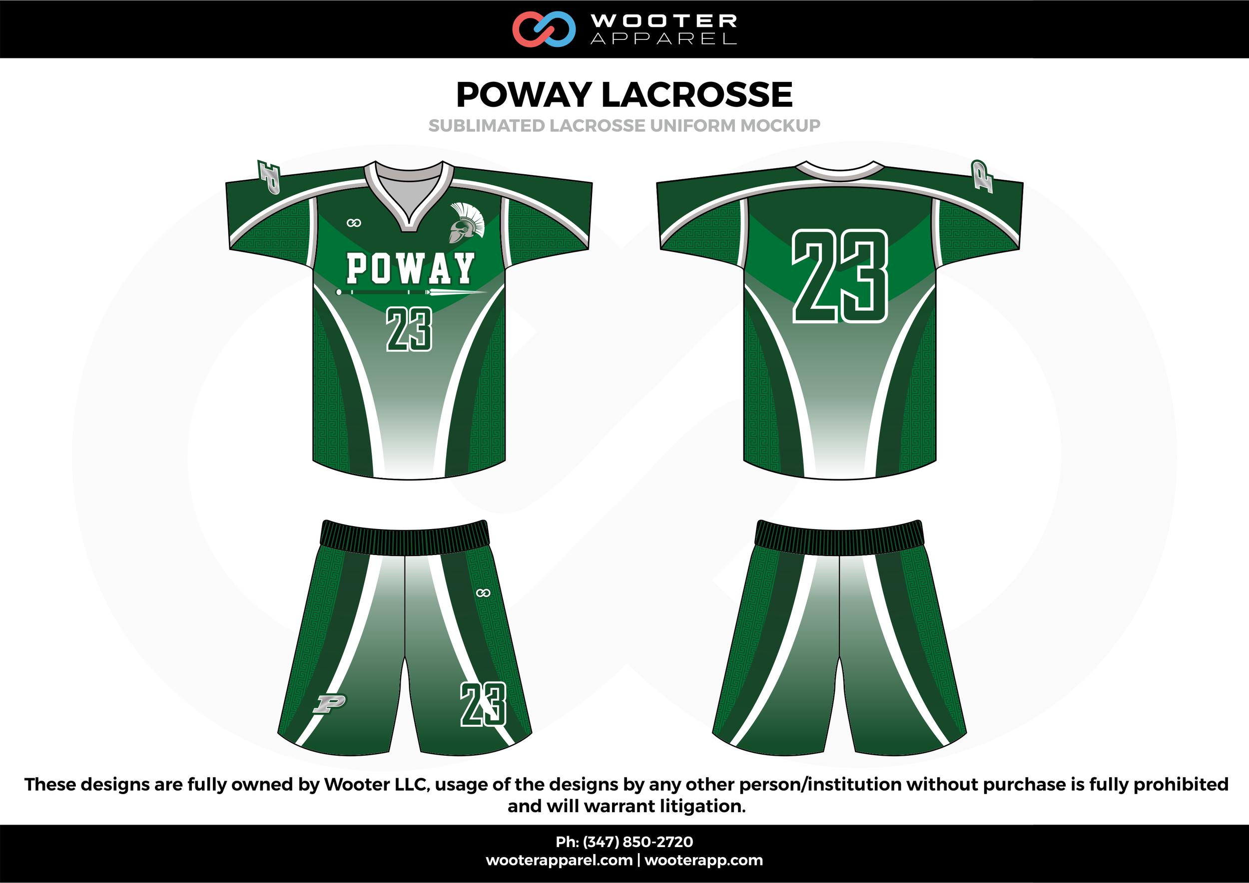 POWAY LACROSSE green white black Lacrosse uniforms jerseys shirts shorts