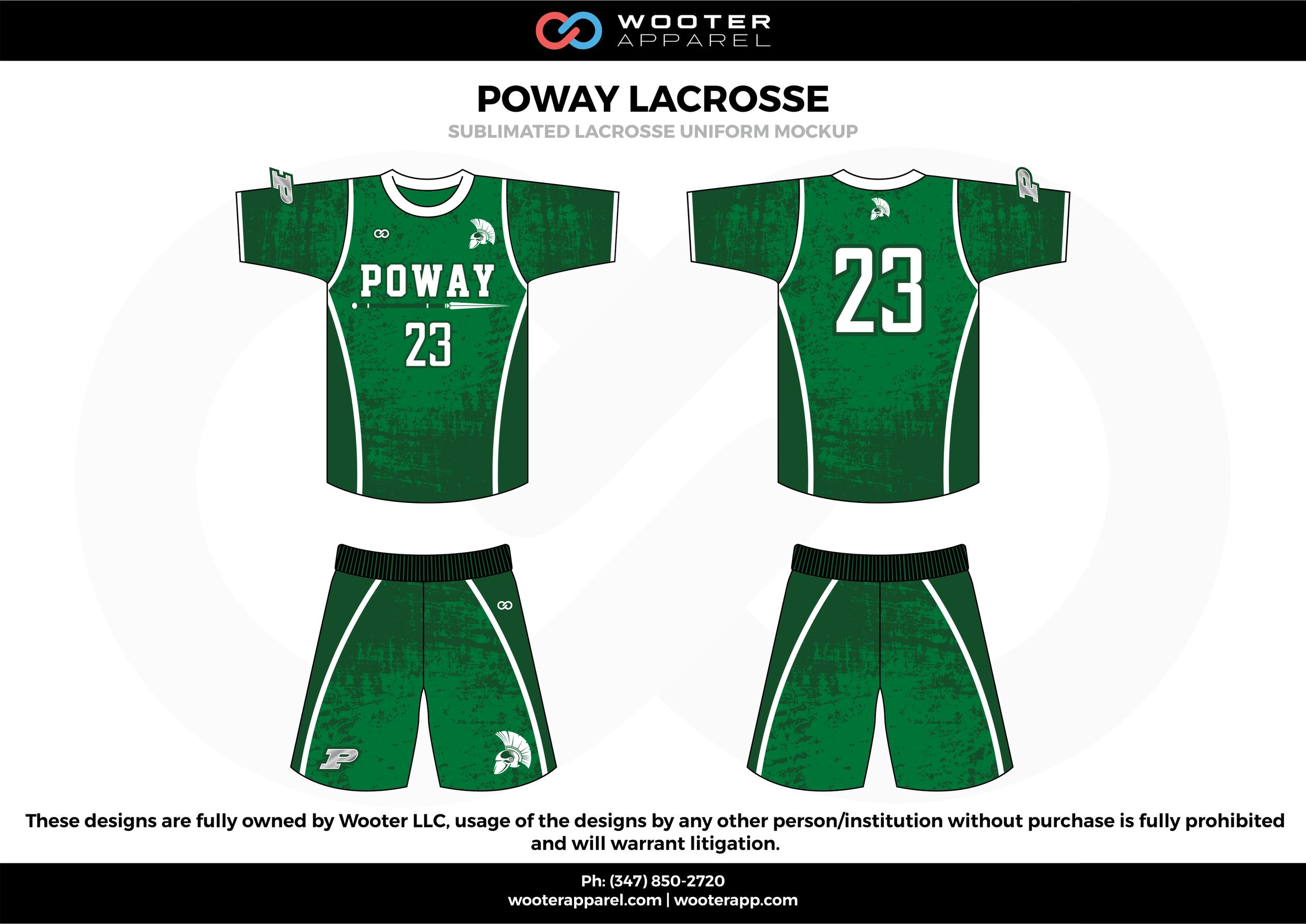 POWAY LACROSSE green white and black Lacrosse uniforms jerseys shirts shorts