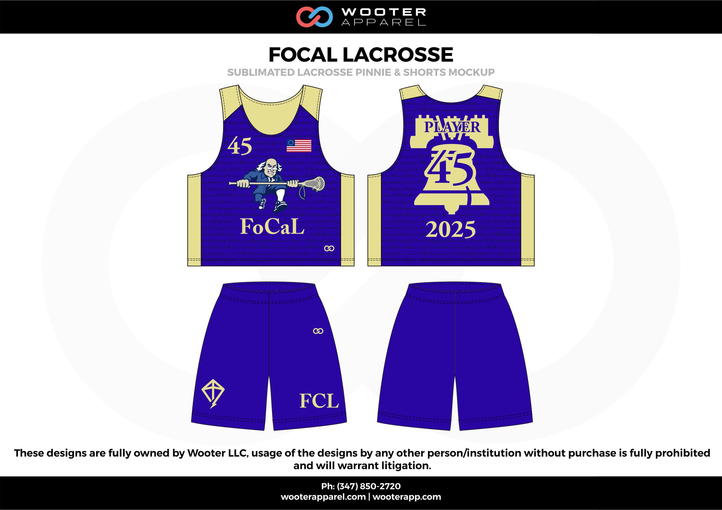 FOCAL LACROSSE blue beige Lacrosse uniforms reversible pinnies jerseys shorts
