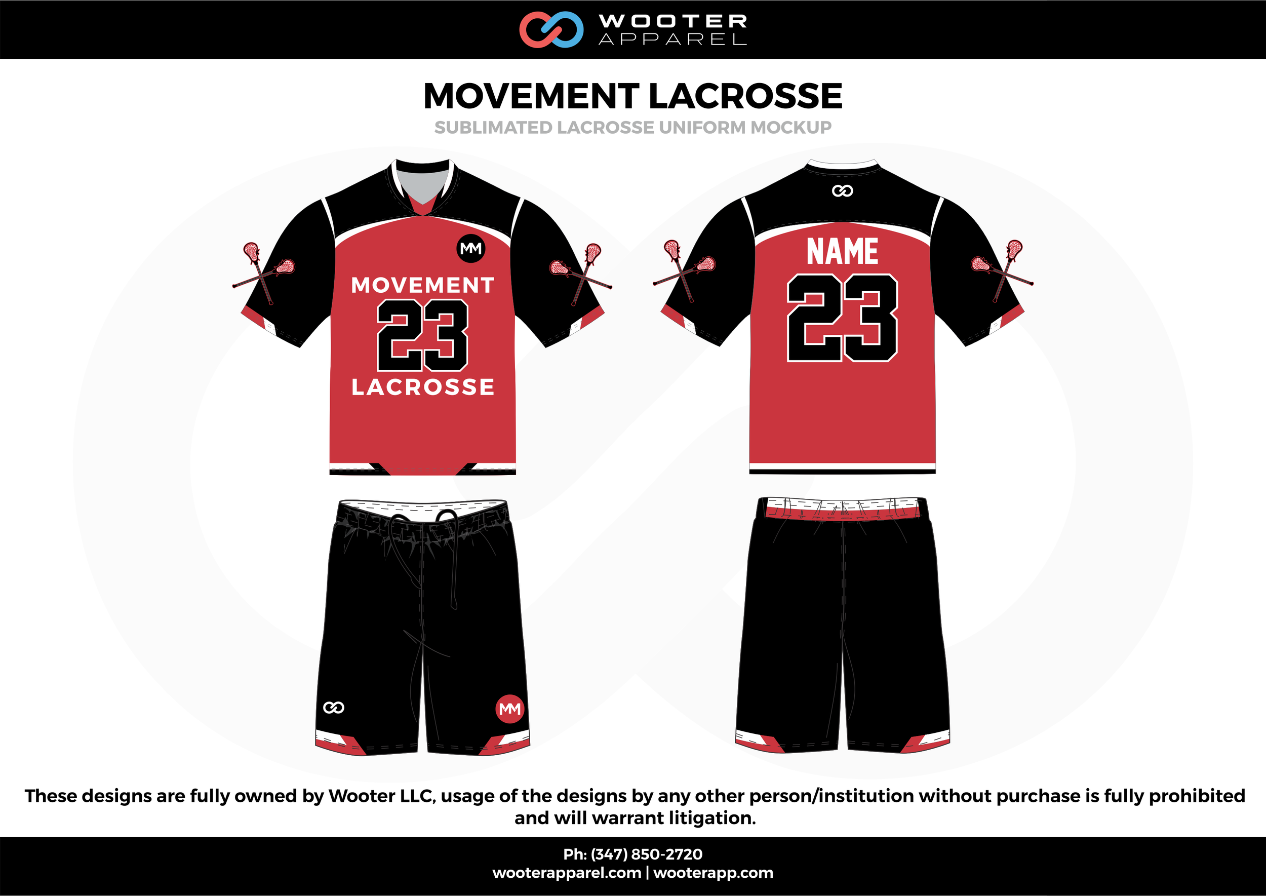 MOVEMENT LACROSSE red black and white Lacrosse uniforms jerseys shirts shorts