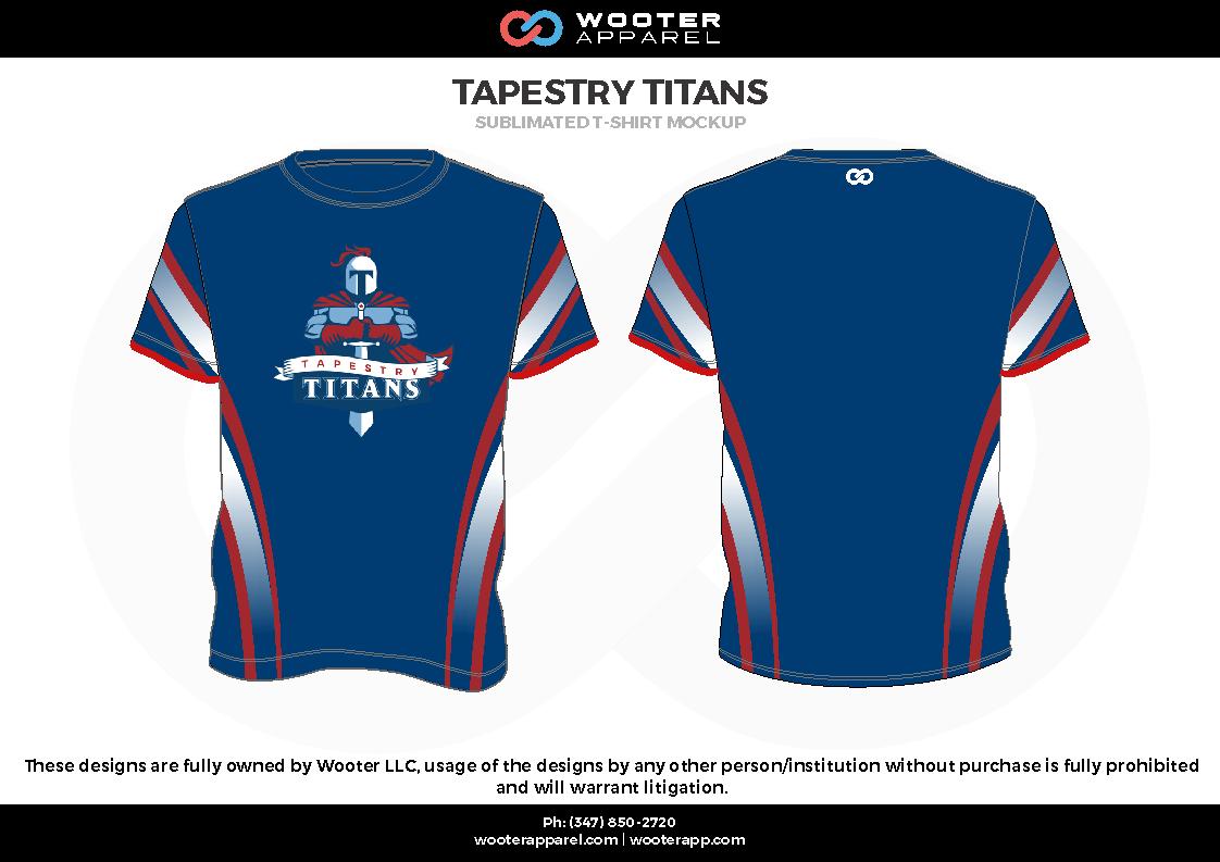 TAPESTRY TITANS  blue red gray white Short Sleeve Shirt