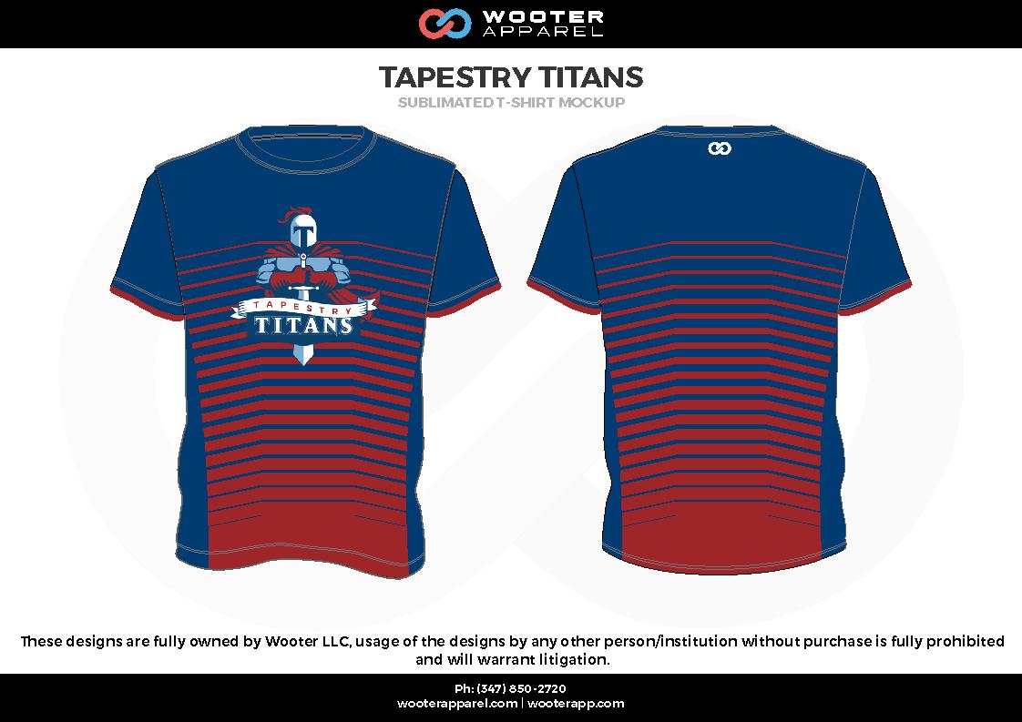 TAPESTRY TITANS blue red white Short Sleeve Shirt