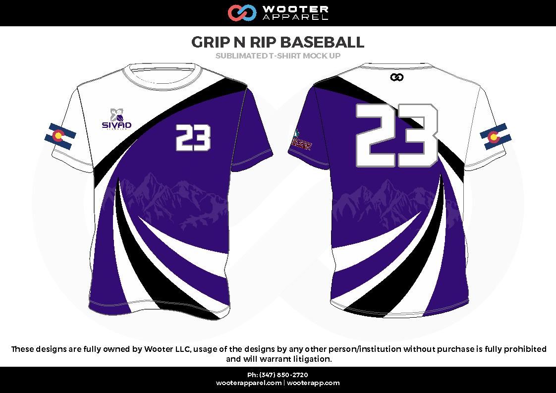 GRIP N RIP BASEBALL  blue white black Short Sleeve Shirt