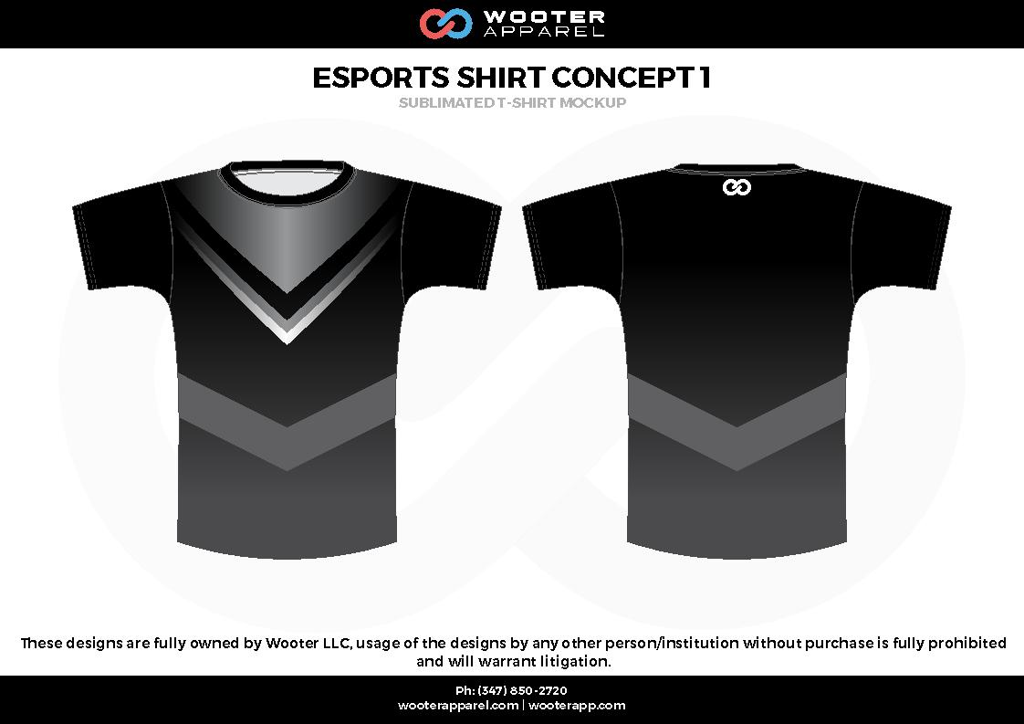 ESPORTS SHIRT CONCEPT 1  black white gray  e-sports jerseys, shirts, uniforms