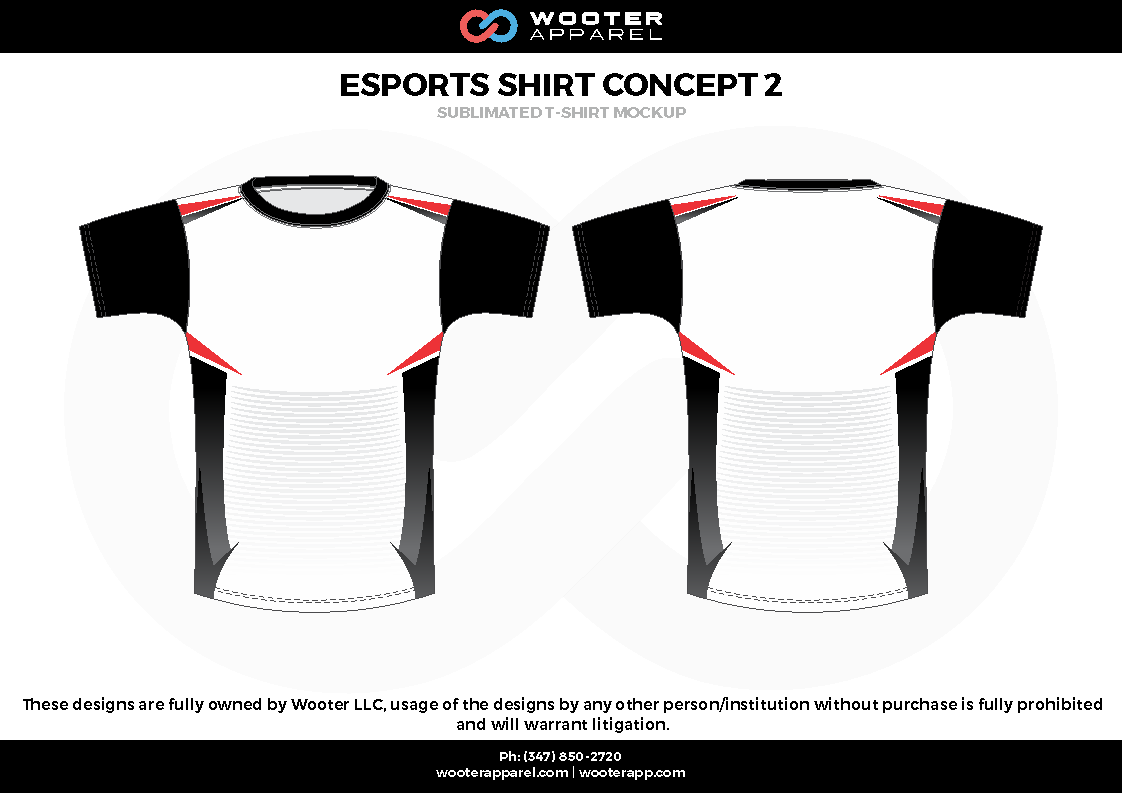ESPORTS SHIRT CONCEPT 2 black white red e-sports jerseys, shirts, uniforms